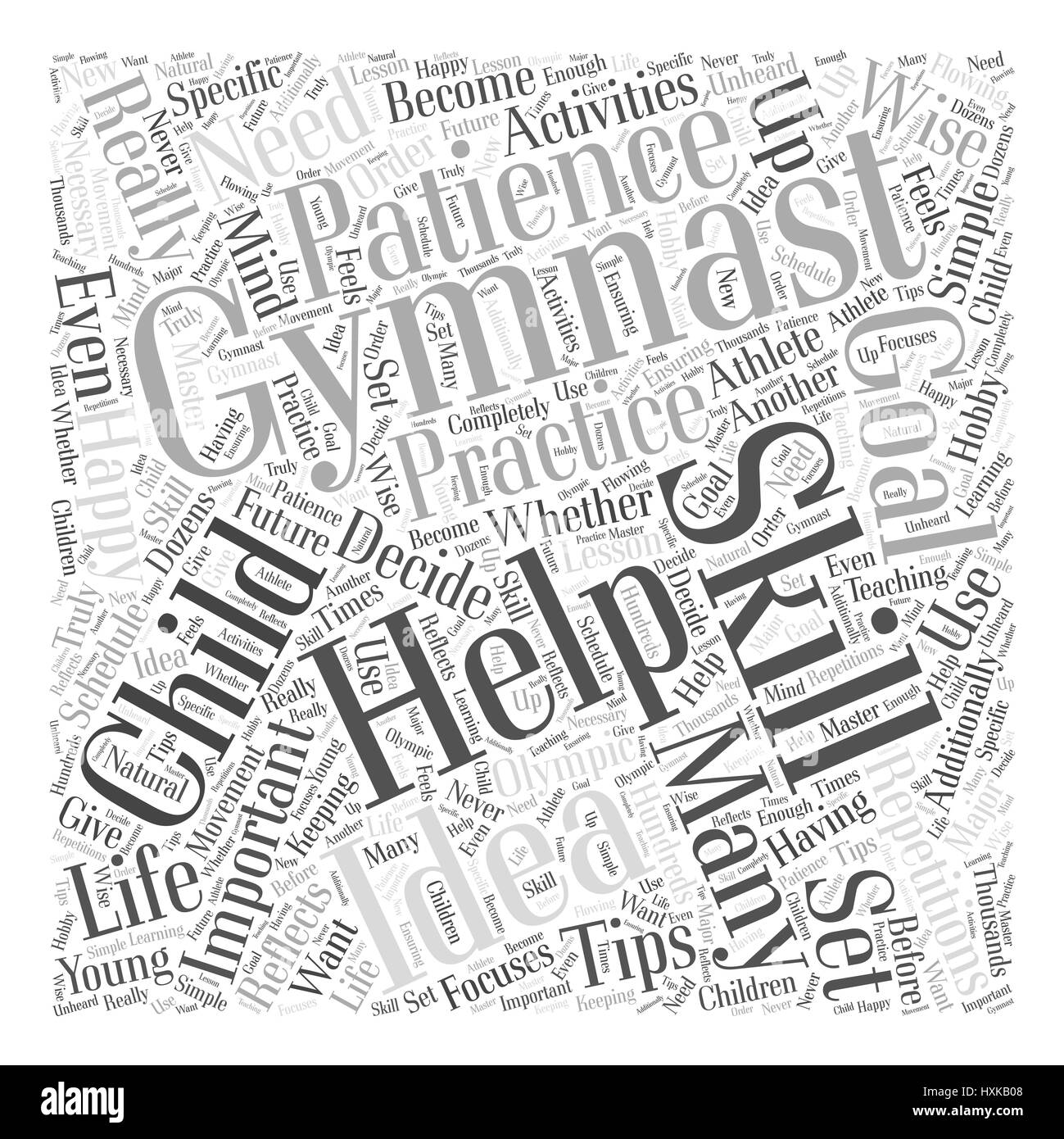 Tips for a Happy Gymnast Word Cloud Concept - Stock Vector