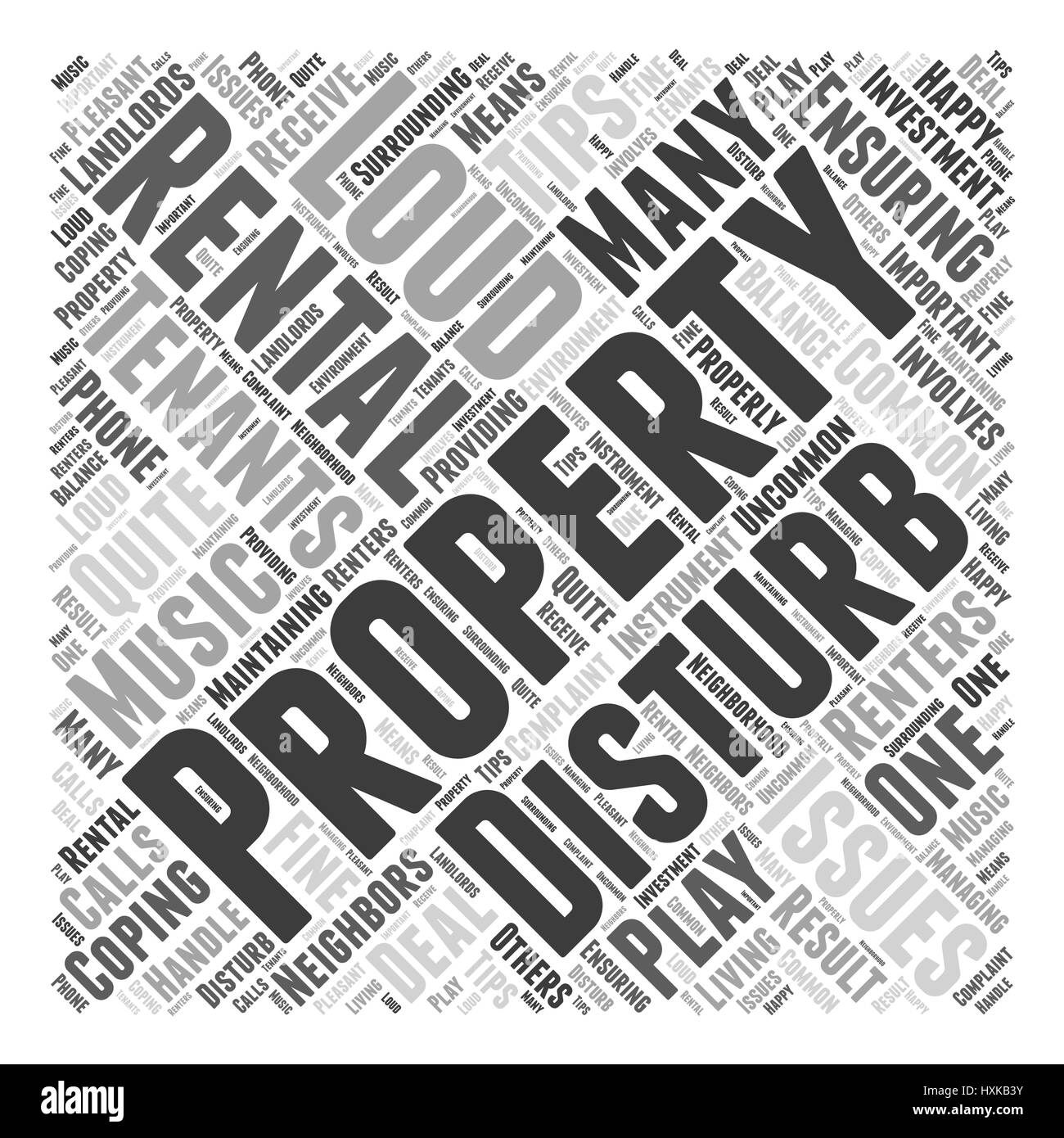 Tips for Coping with Loud Tenants Word Cloud Concept - Stock Image