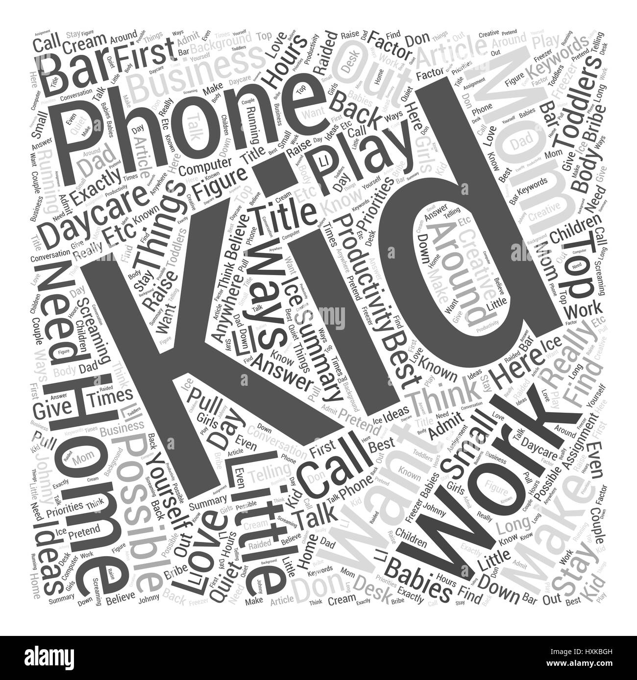 toddlers and productivity top ways to make it work word cloud stock