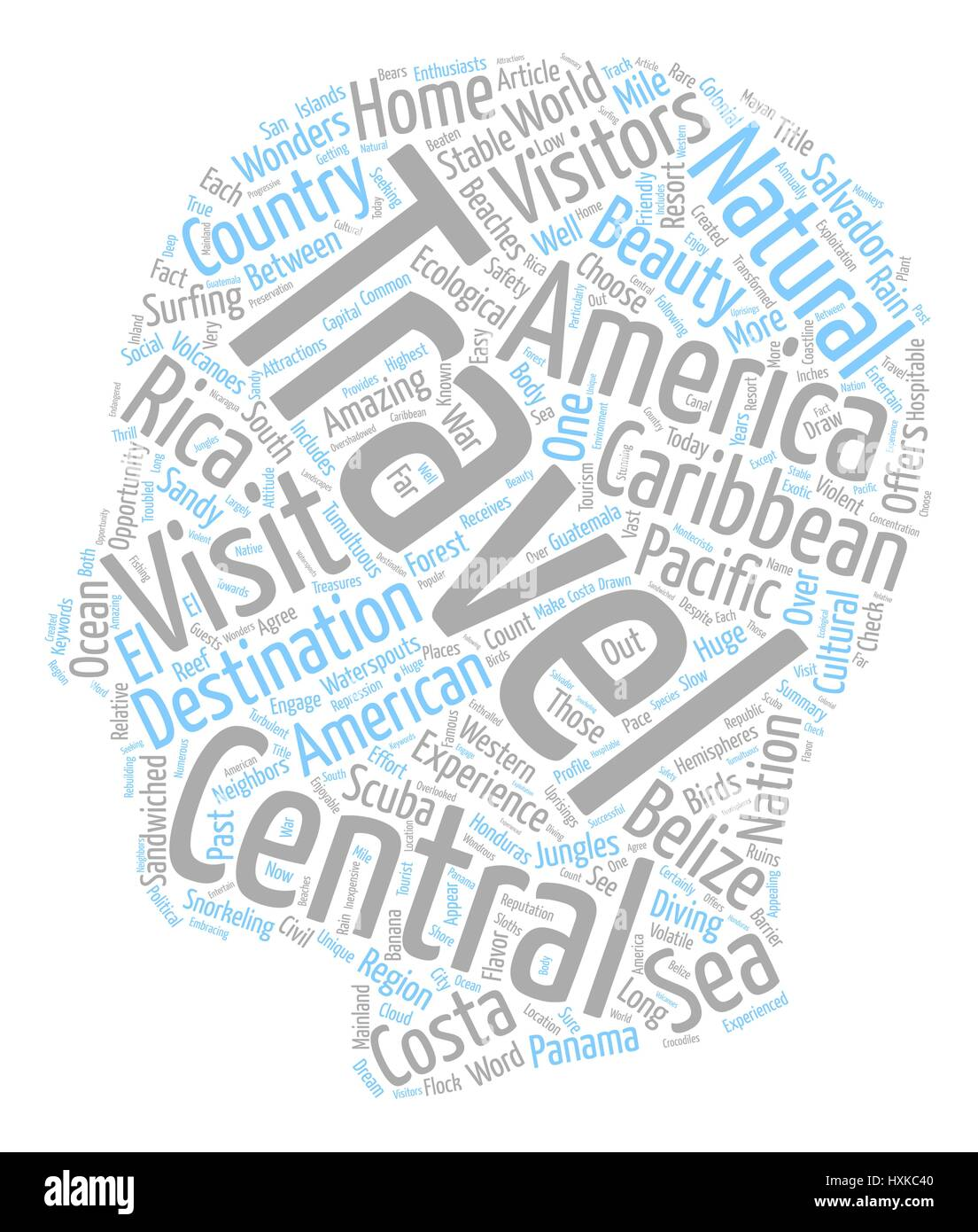 Travel Central America text background wordcloud concept - Stock Image