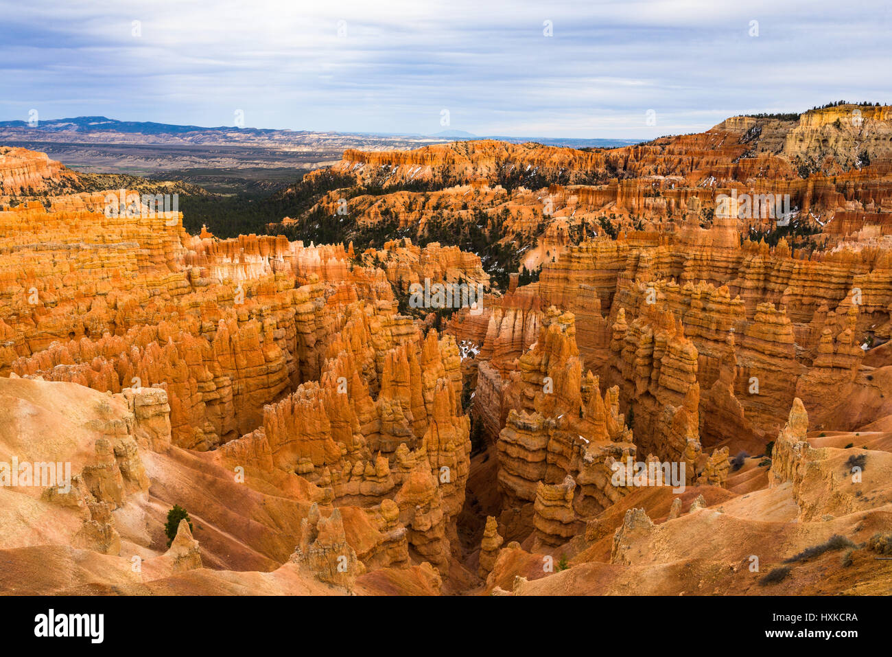 Looking out over the orange sandstone pillars of Bryce Canyon from the rim on a cloudy day, Bryce Canyon National - Stock Image