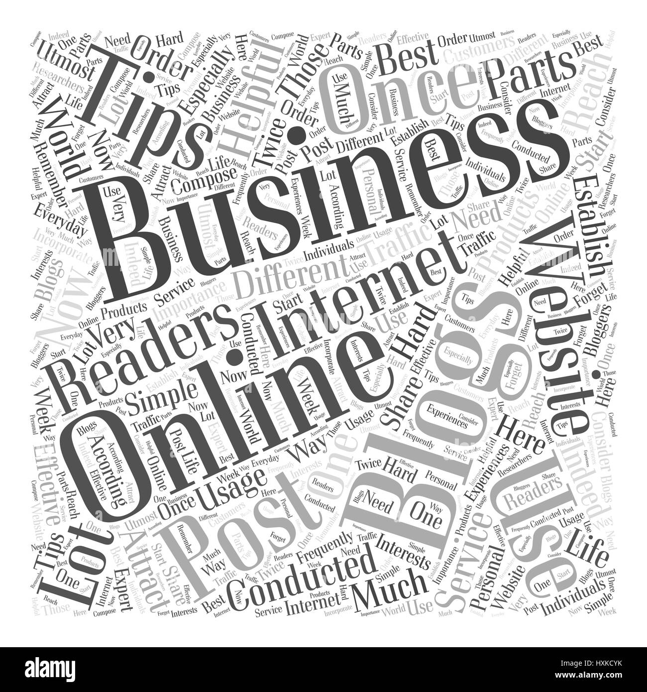 usage of blogging for business Word Cloud Concept - Stock Image