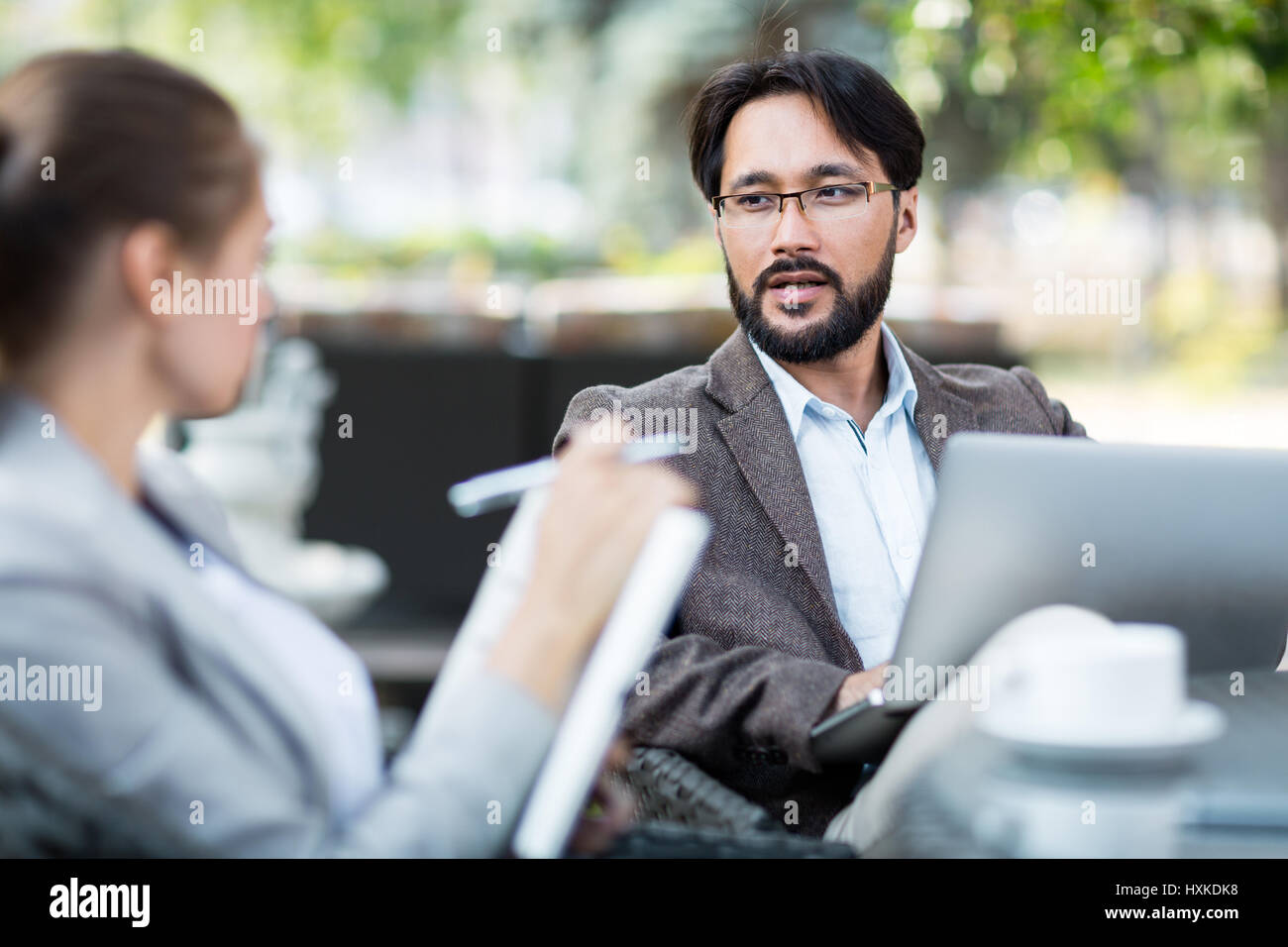 Conducting informal interview with applicant Stock Photo
