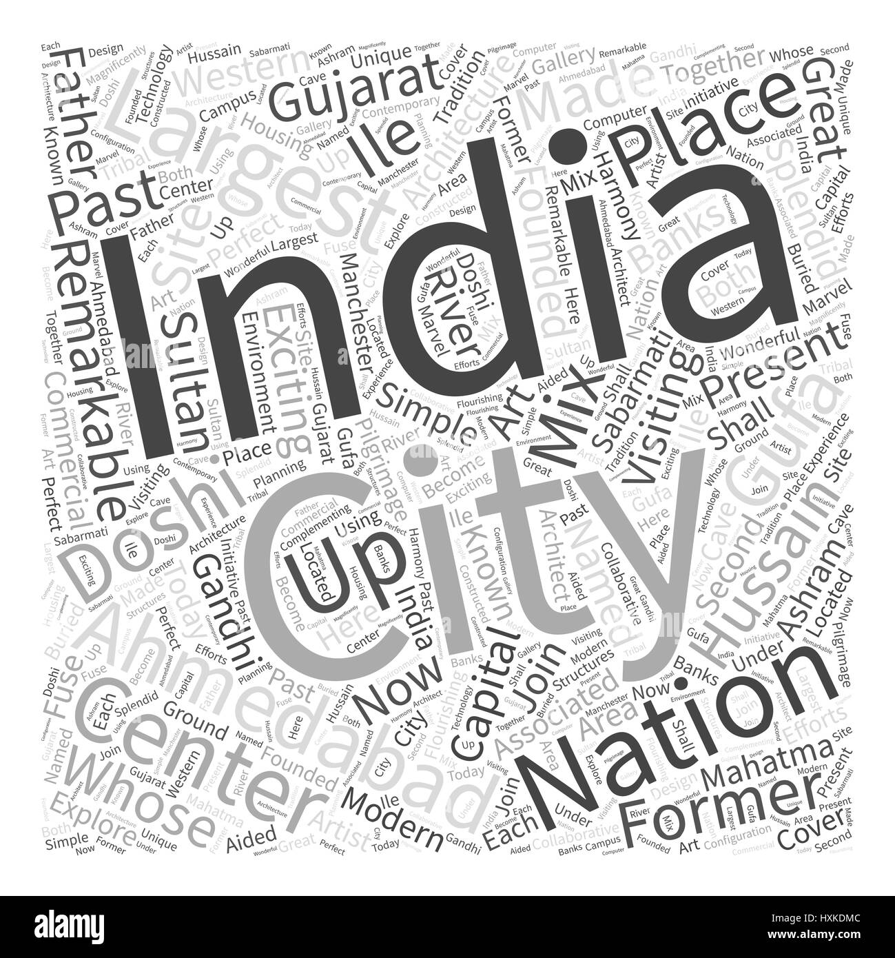 Visiting Ahmedabad India Word Cloud Concept - Stock Vector