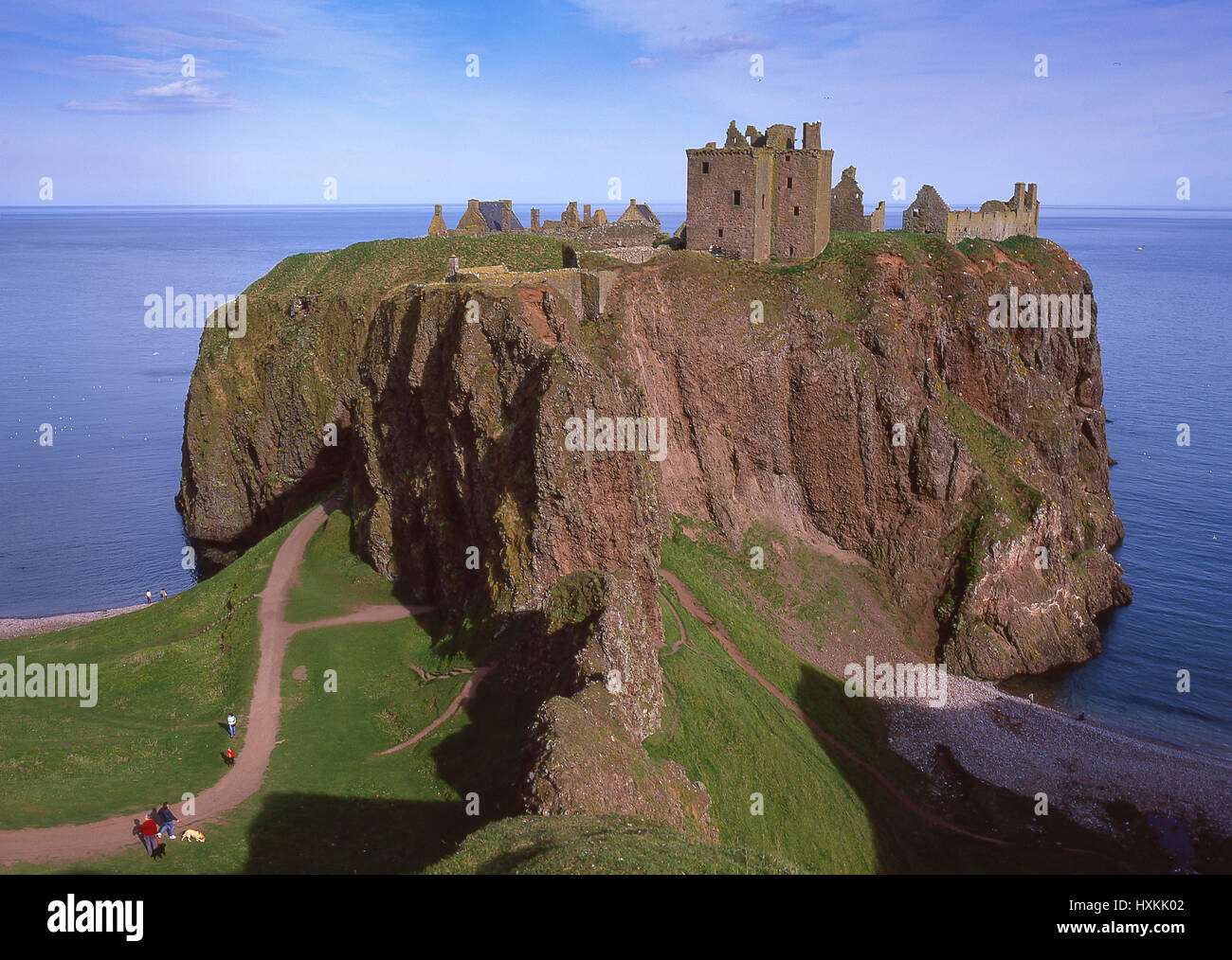 Ruins of Dunnottar Castle, Stonehaven, Aberdeenshire, Scotland, United Kingdom - Stock Image