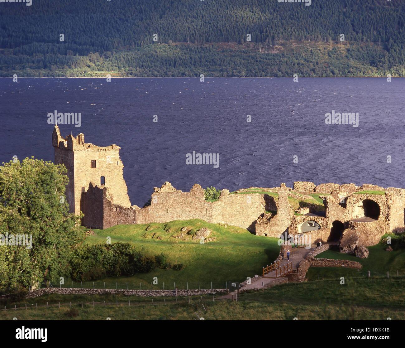 Urquhart Castle on Loch Ness, Nr. Drumnadrochit, Highland, Scotland, United Kingdom - Stock Image