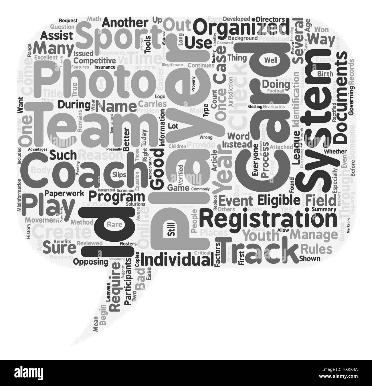 Why Have ID Cards in Youth Sports text background wordcloud concept - Stock Image