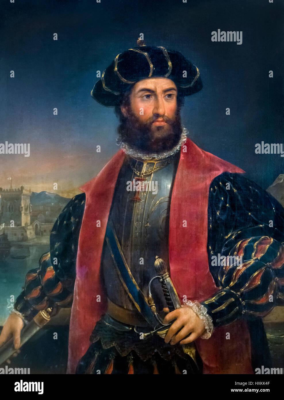 Vasco de Gama. Portrait of the Portuguese explorer, Vasco da Gama, 1st Count of Vidigueira (c. 1460–1524) by Antonio - Stock Image