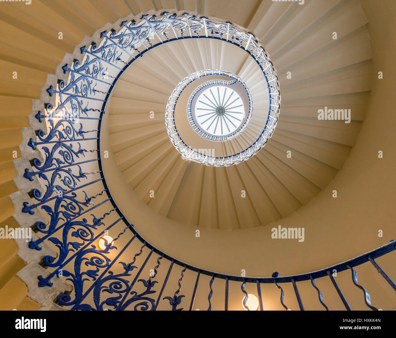 The Tulip Stairs in Queen's House, Greenwich, London, England, UK. The stairs are the first centrally unsupported - Stock Image