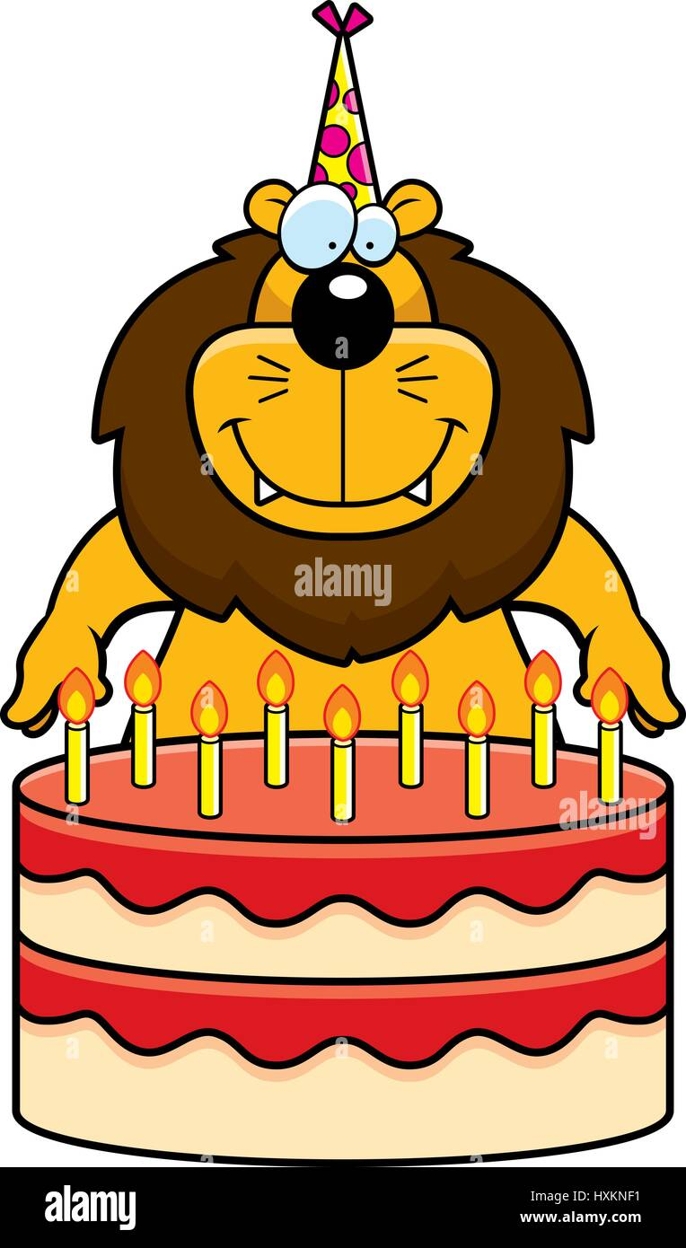 Brilliant A Cartoon Illustration Of A Lion With A Birthday Cake Stock Vector Funny Birthday Cards Online Overcheapnameinfo