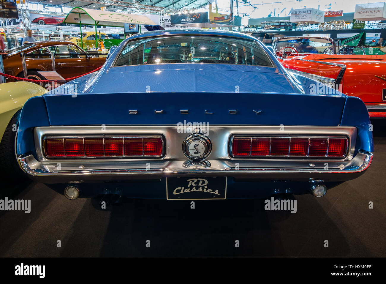Muscle car ford mustang shelby gt500kr 1968 rear view europes greatest classic car exhibition retro classics
