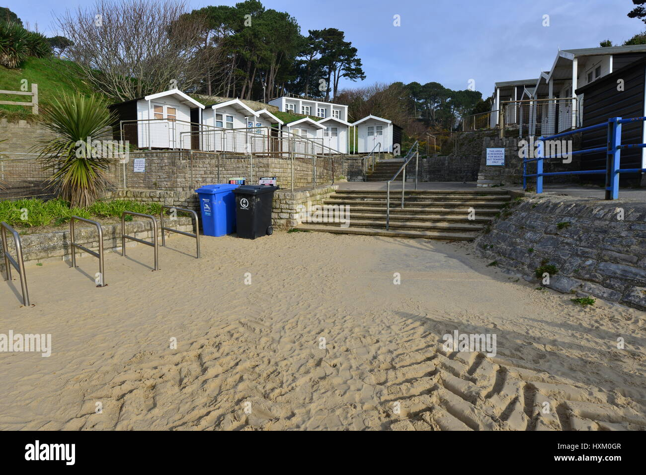 Branksome Chine beach at Bournemouth in Dorset on a spring morning, light cloud occasional sunshine. Stock Photo