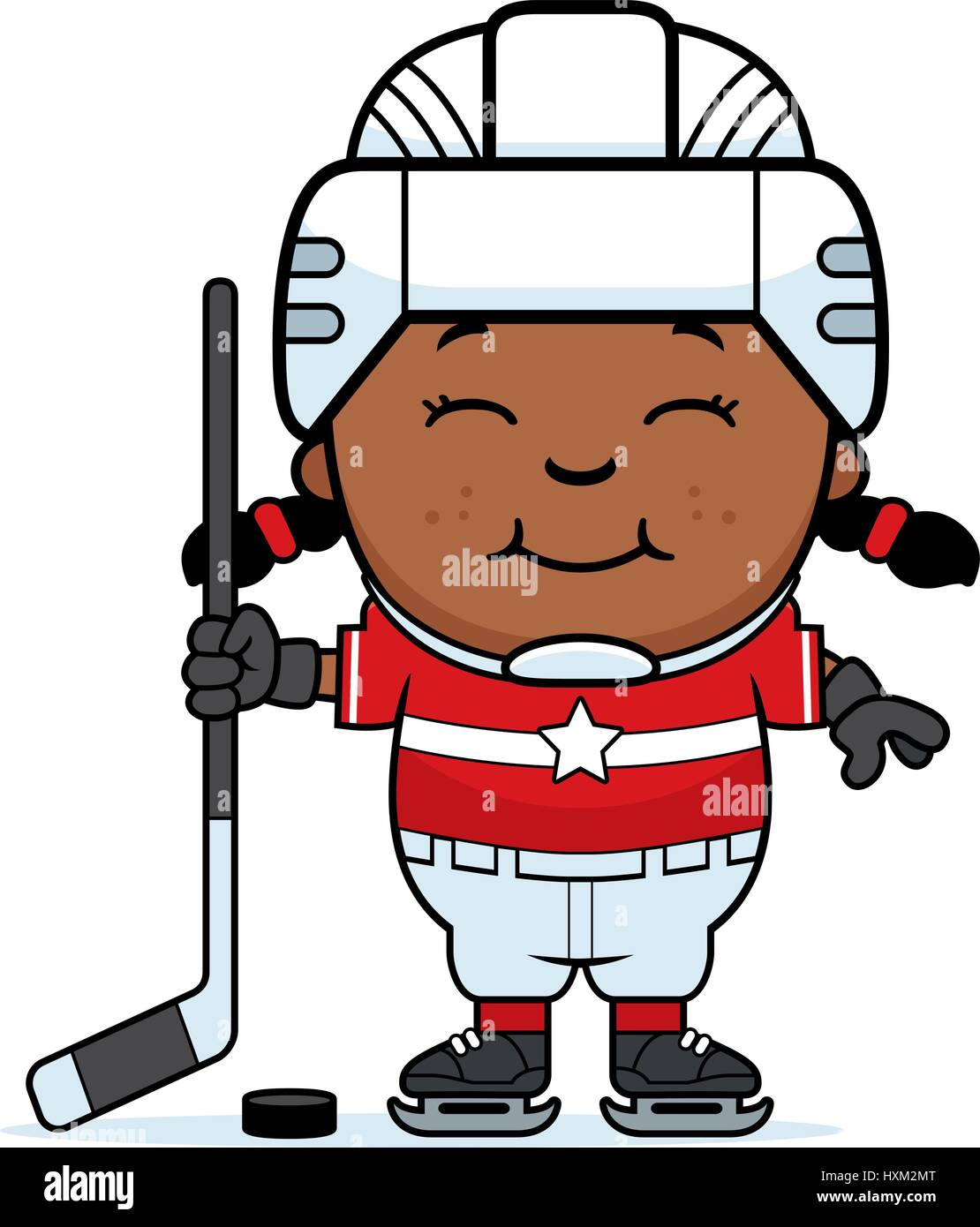 A Cartoon Illustration Of A Child Hockey Player Smiling Stock Vector Image Art Alamy