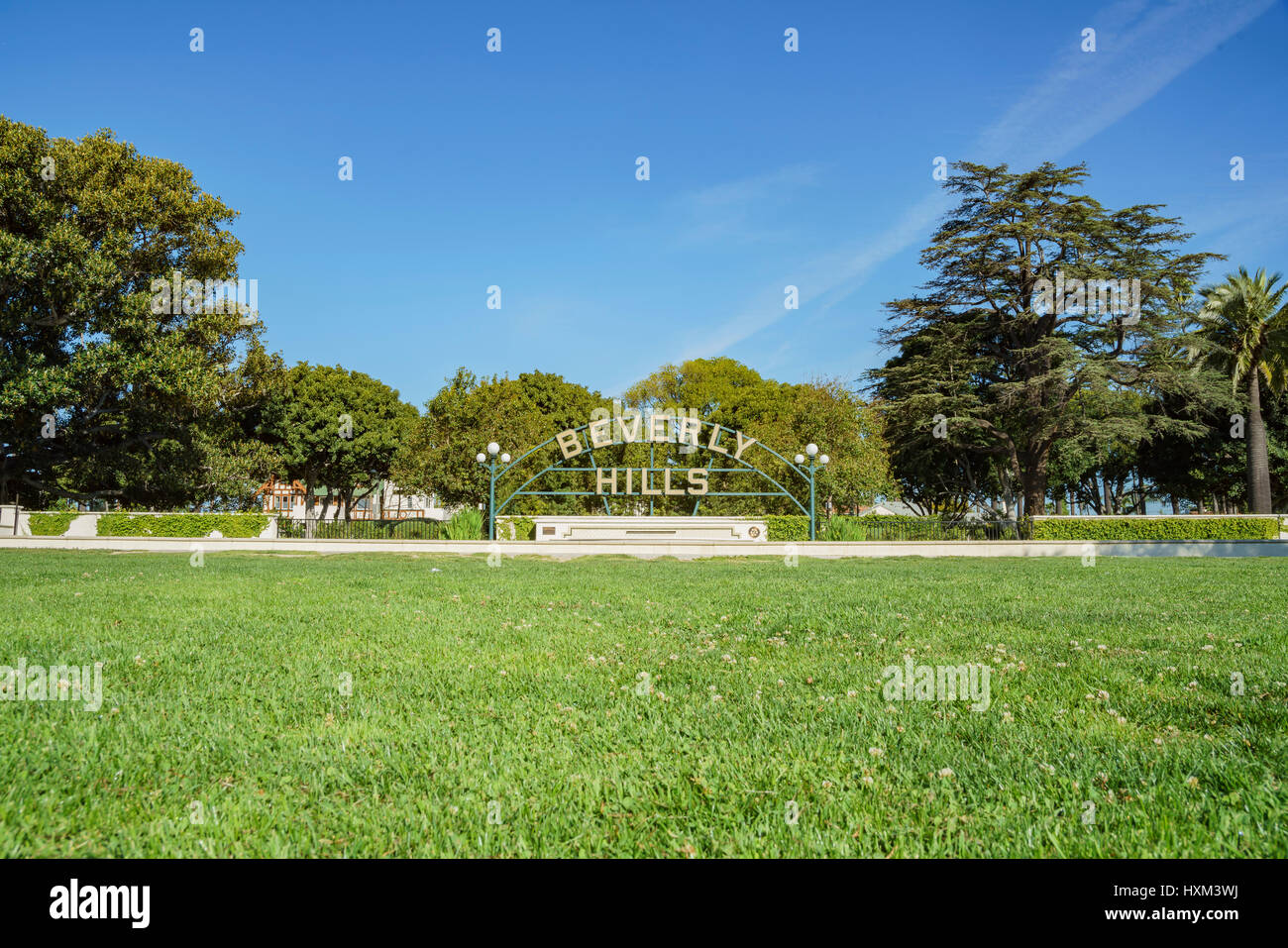 Beverly Hills, MAR 24: Beverly Hills Sign on MAR 24, 2017 at Beverly Gardens Park, Los Angeles, California - Stock Image