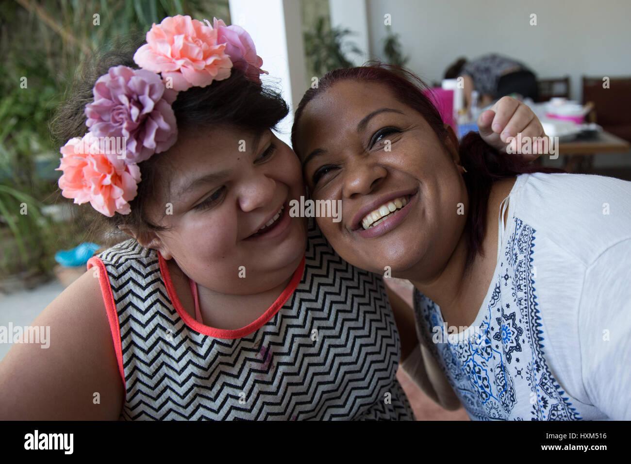 Ana Ximena Navarro (L) and her aunt Gabriela Rios Ballesteros (R), are pictured in Guadalajara, Mexico on February - Stock Image