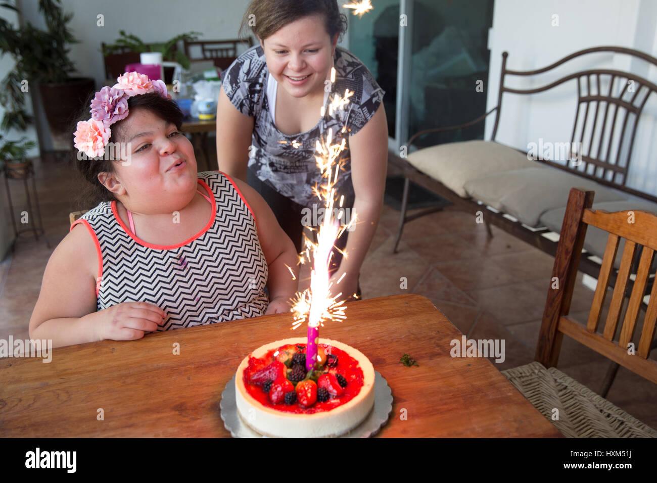 Ana Ximena Navarro (L) and her sister Ana Yamila Navarro (R), are pictured at their home in Guadalajara, Mexico - Stock Image