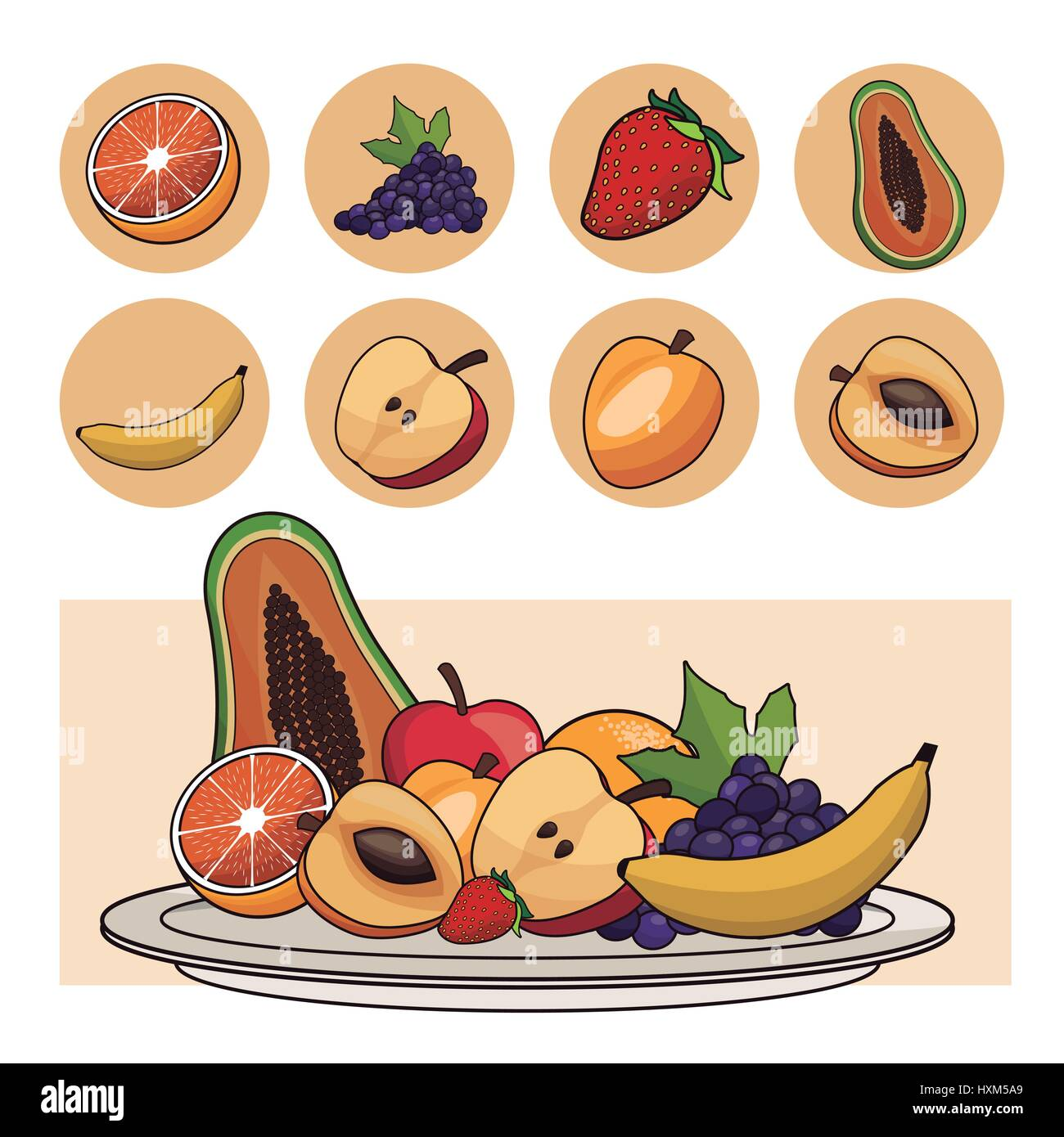 fruits nutrition salad plate icons - Stock Vector