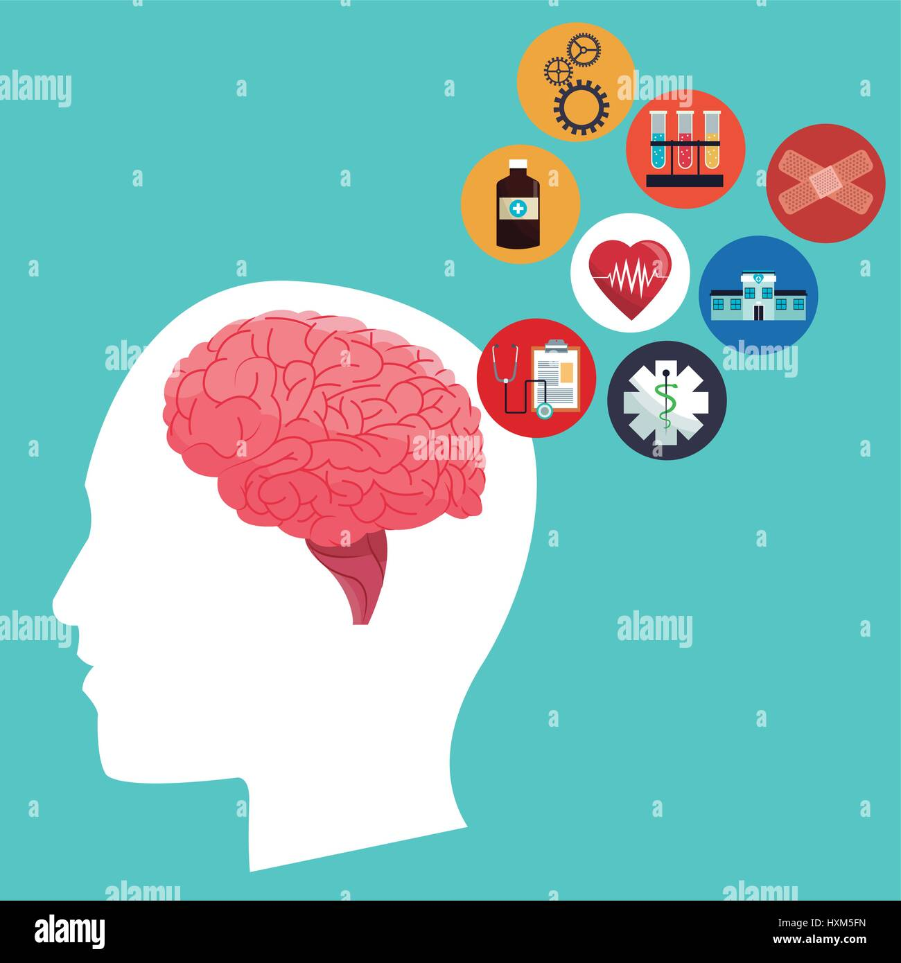 human head brain healthcare medical icons - Stock Image