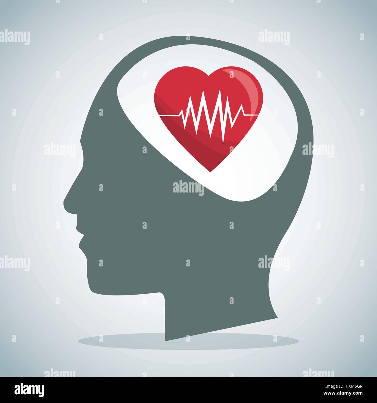 human head brain heartbeat care - Stock Image