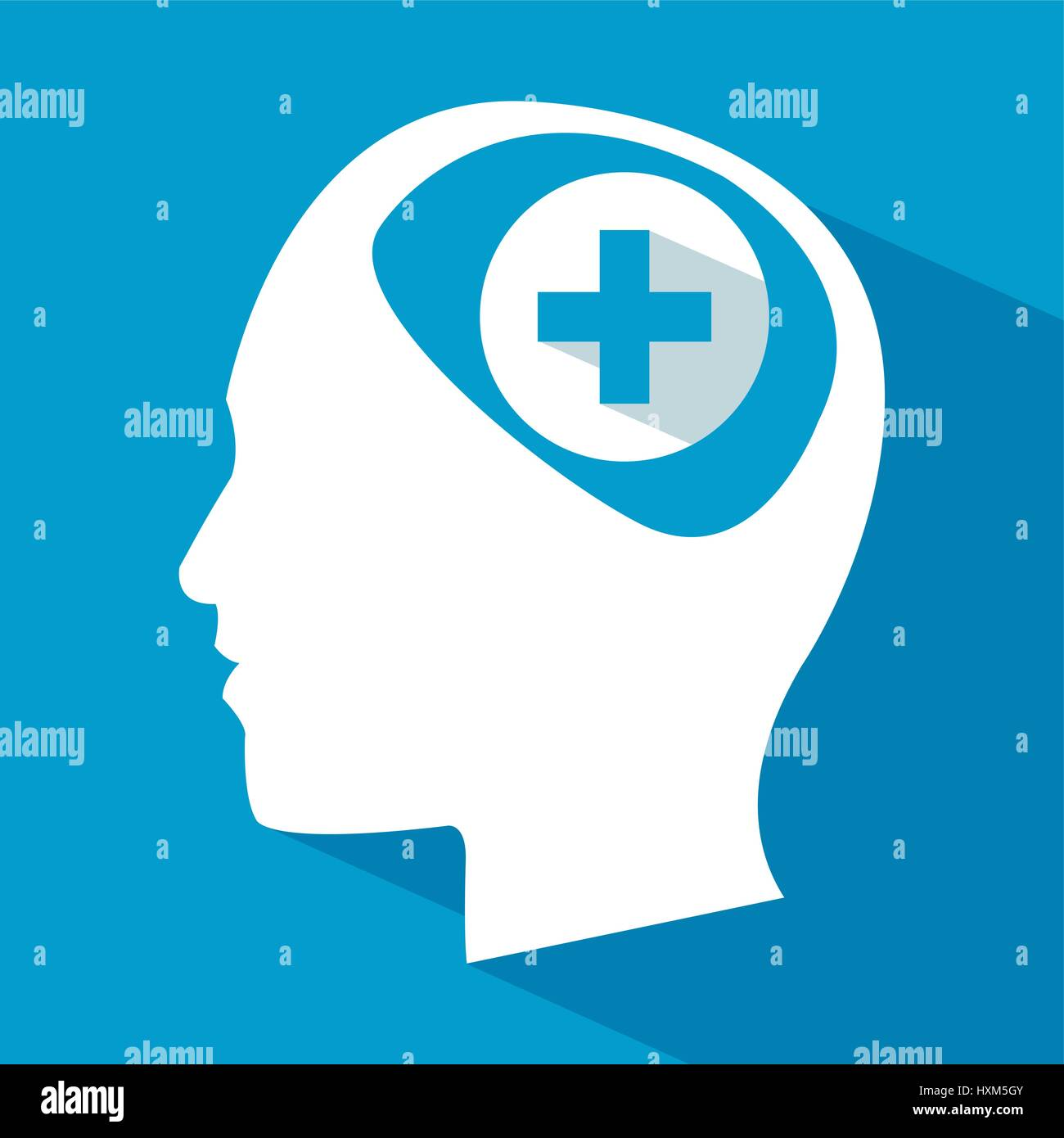 human head brain care cross - Stock Image