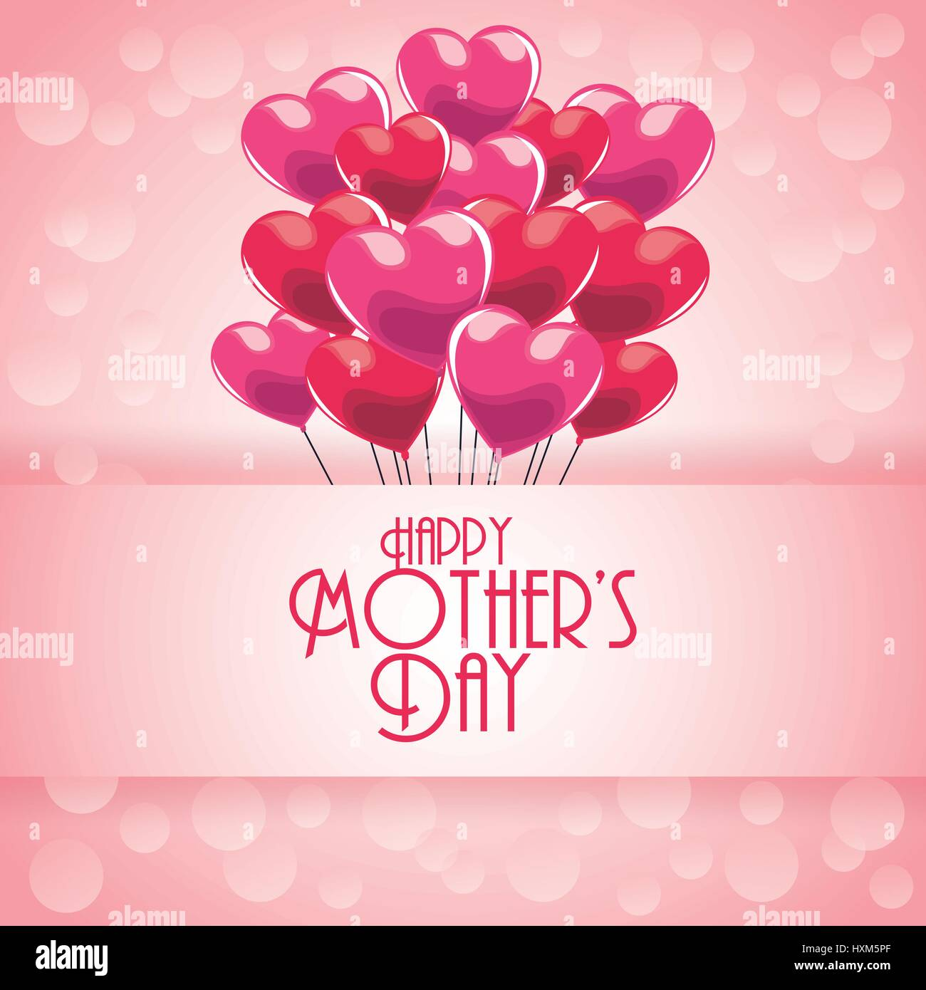 Happy Mothers Day Greeting With Heart Balloons And Bubbles