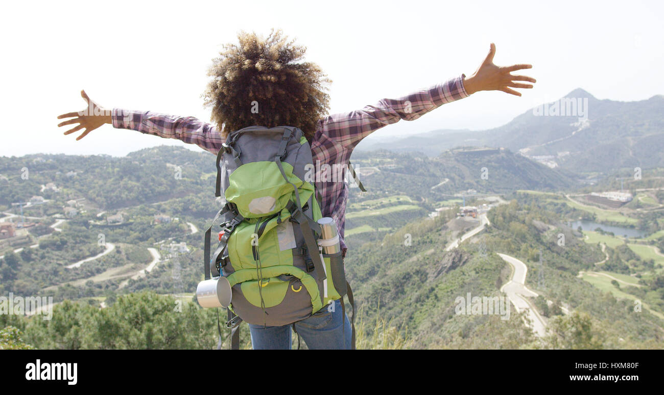 Expressive happy traveler - Stock Image