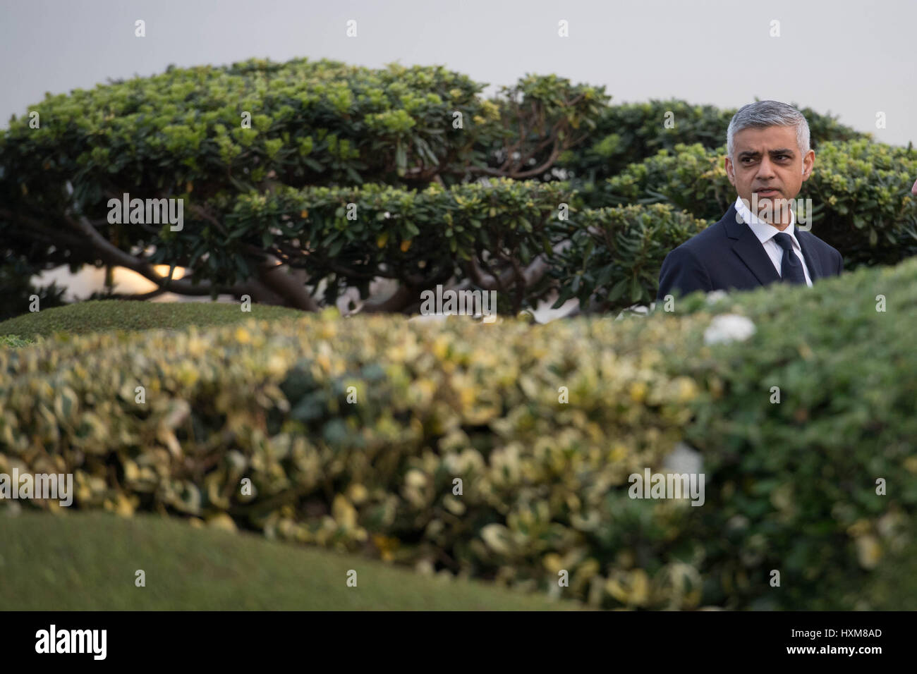 Mayor of London Sadiq Khan at the headquarters of Vivendi in Paris where he took part in TV interviews to discuss Stock Photo