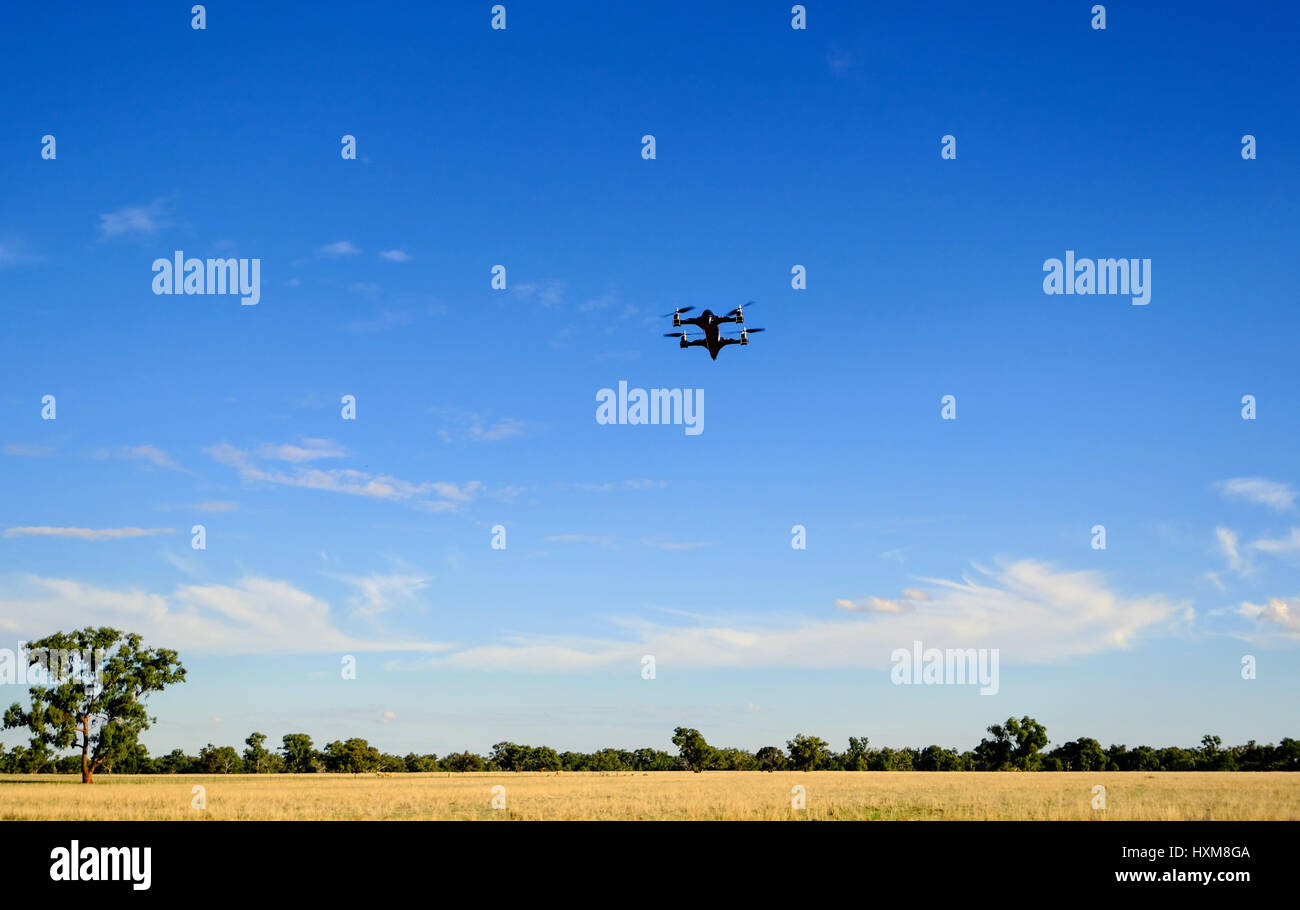 A black drone flies against a blue sky in country Australia - Stock Image