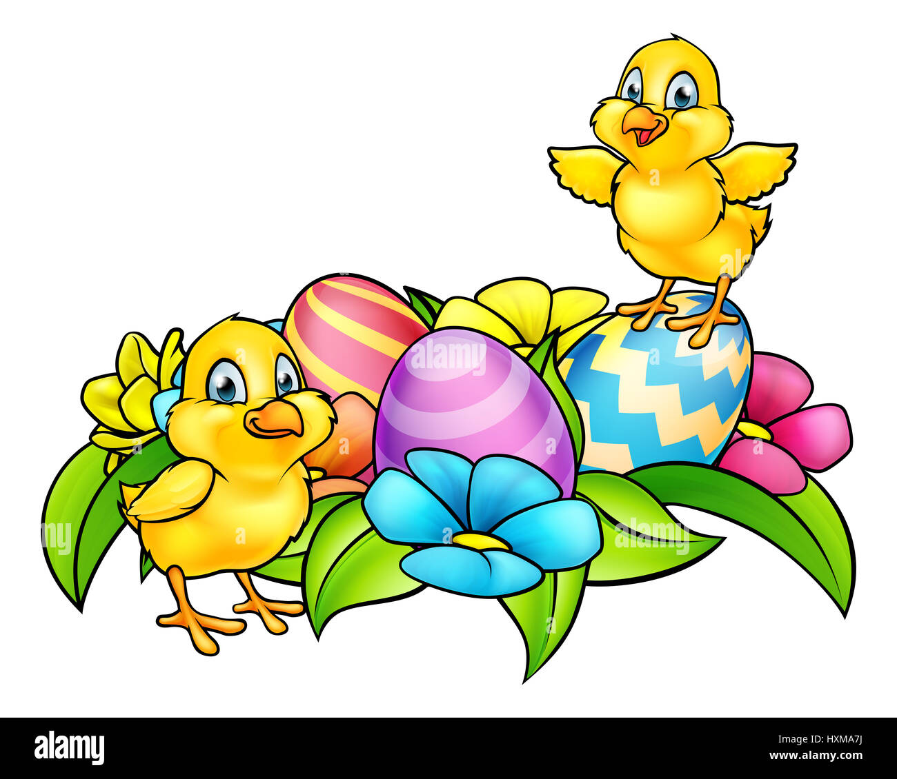 Cartoon Easter Chicks Easter Eggs And Spring Flowers Stock Photo