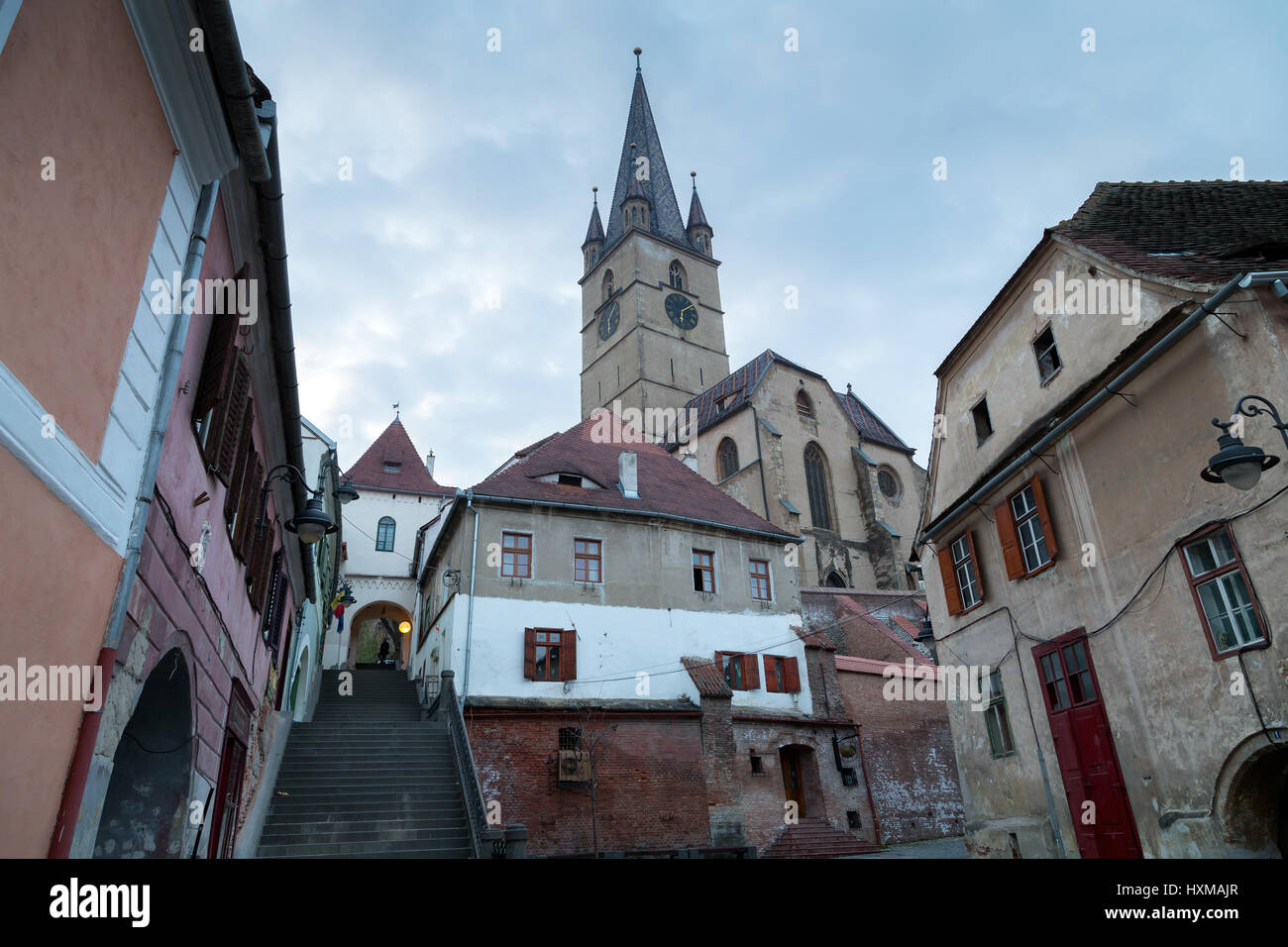 SIBIU ROMANIA, View of townsquare of Sibiu old town Romania - Stock Image