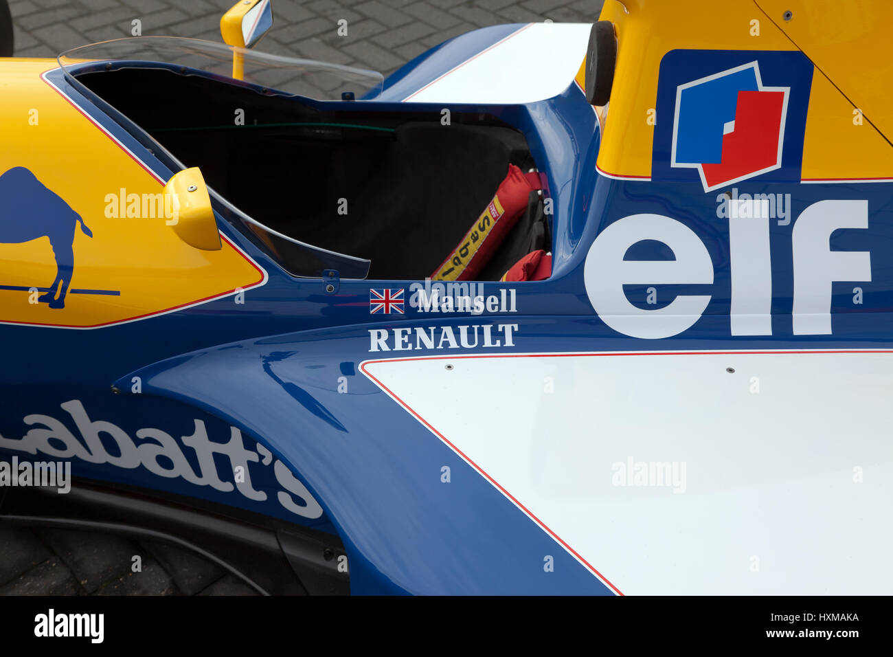 Close-up of Nigel Mansells race winning, 1992, Williams FW14B Formula One Car, on display at the Silverstone Classic - Stock Image