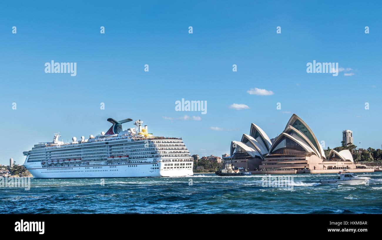 Carnival Spirit Cruise is leaving Sydney harbor, Australia Stock Photo