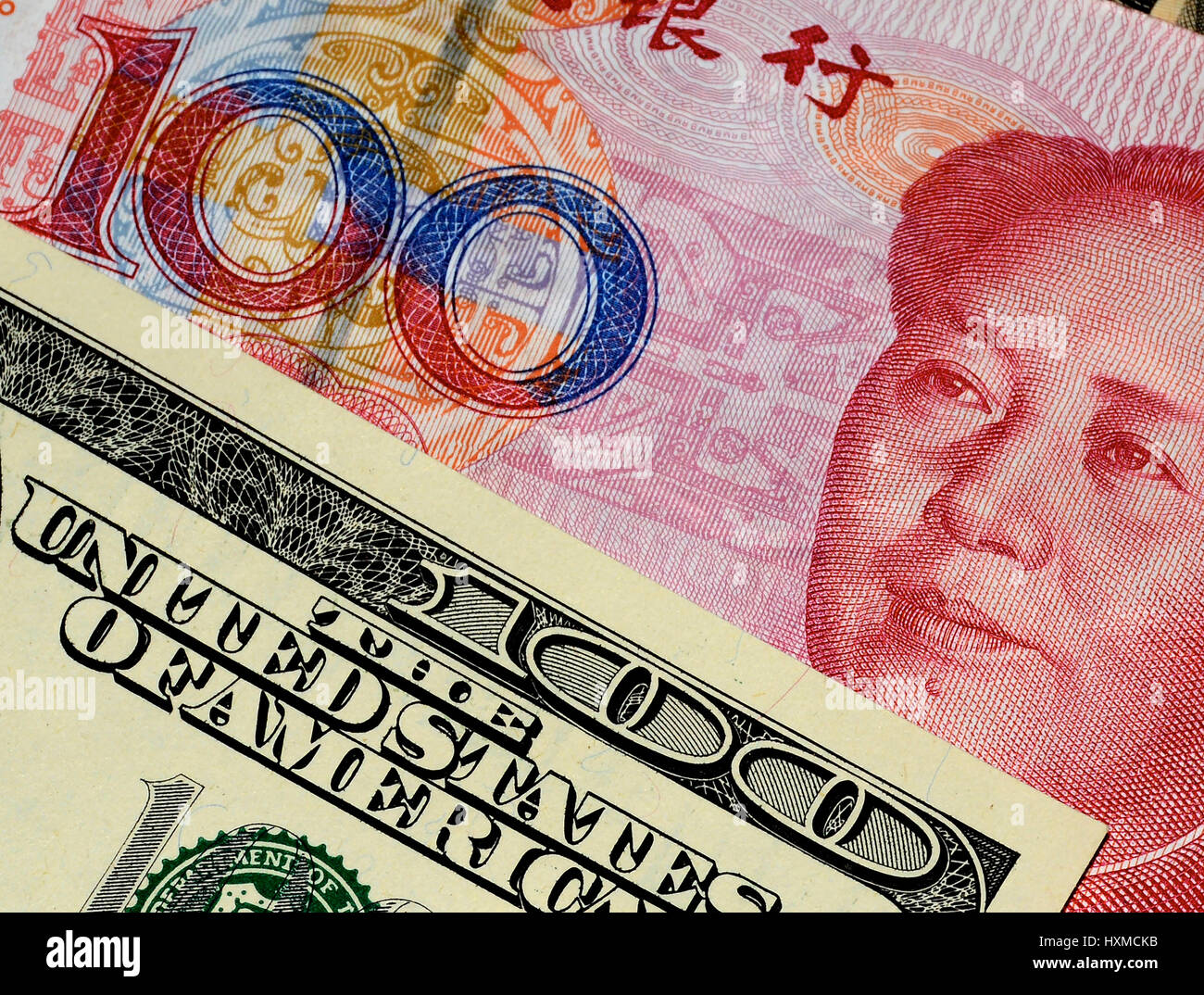 chinese Yuan and U.S. dollars; 13/08/2015 - Stock Image
