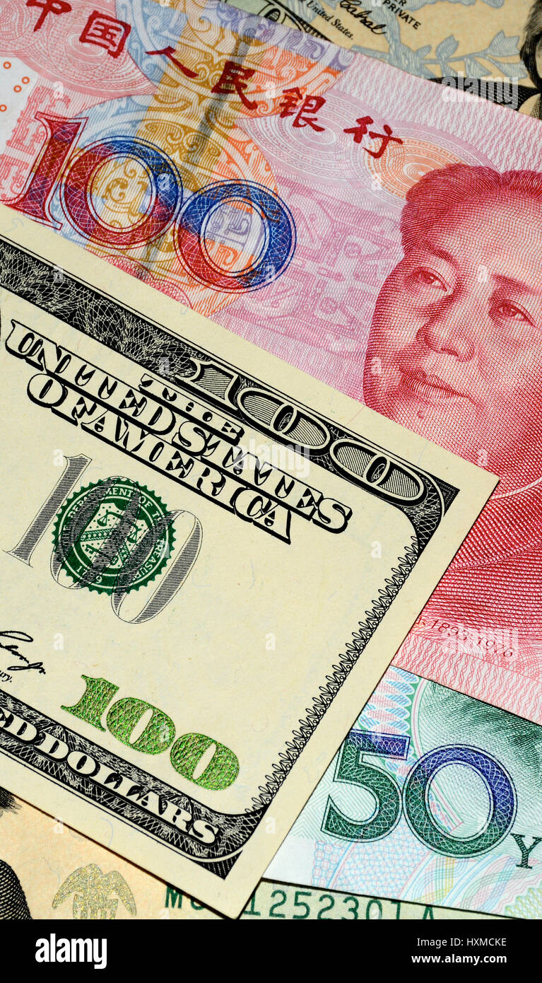 .chinese Yuan and U.S. dollars; 13/08/2015 - Stock Image