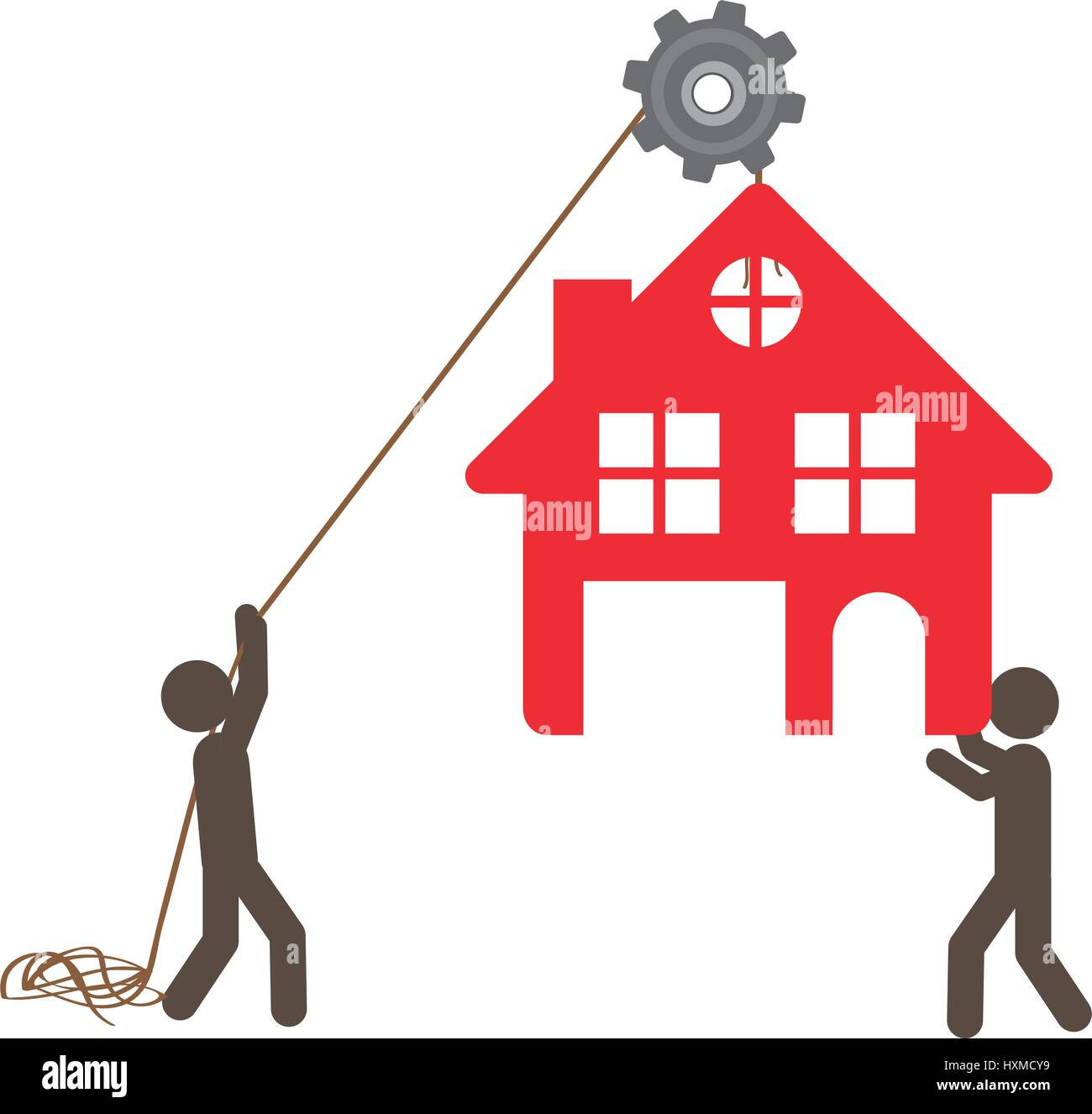 people with pulleys hanging the house - Stock Vector