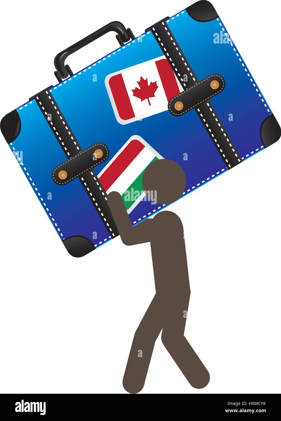 person with suitcase in his hands and shoulder - Stock Vector