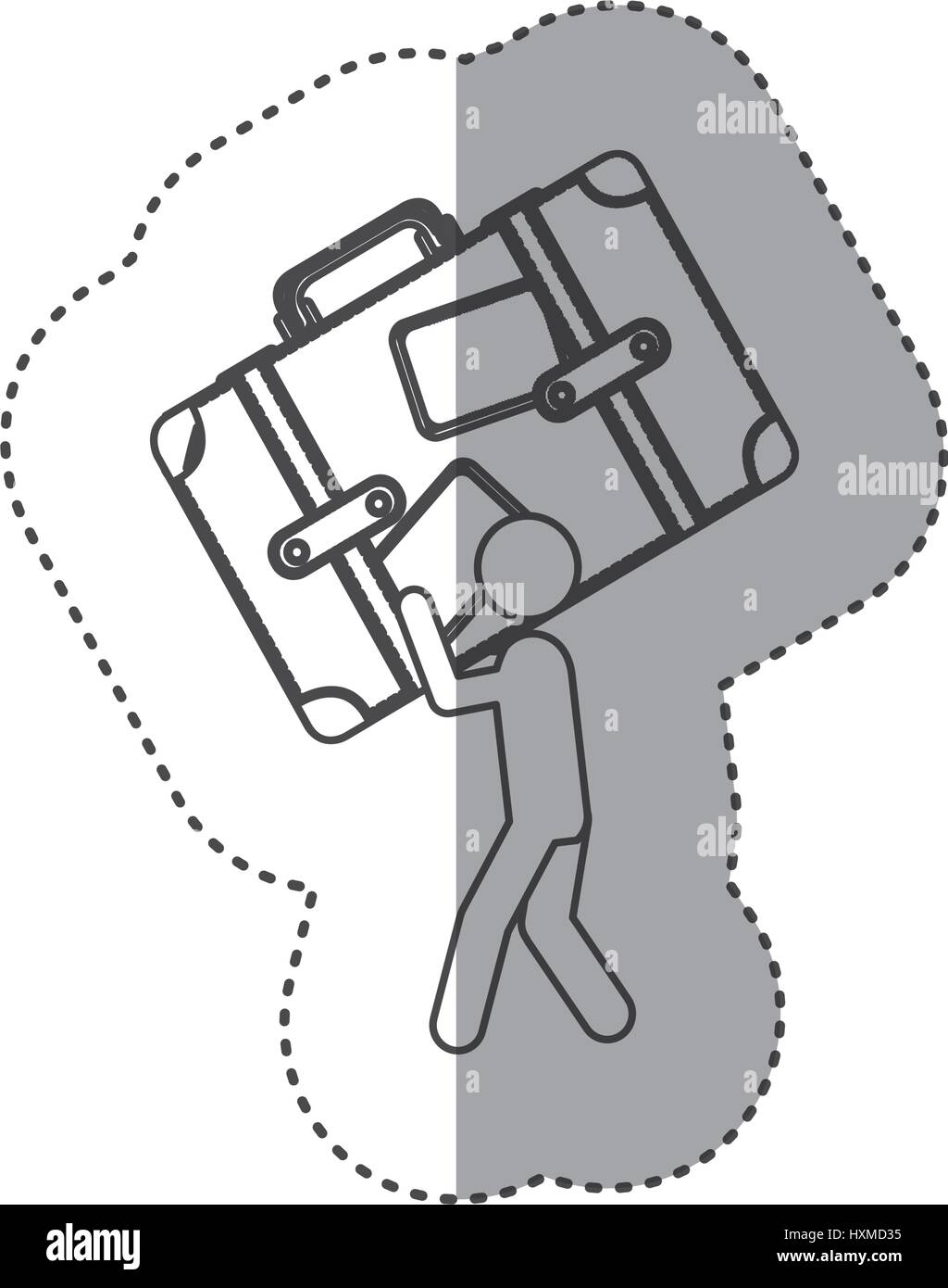figure person with suitcase in his hands and shoulder - Stock Vector