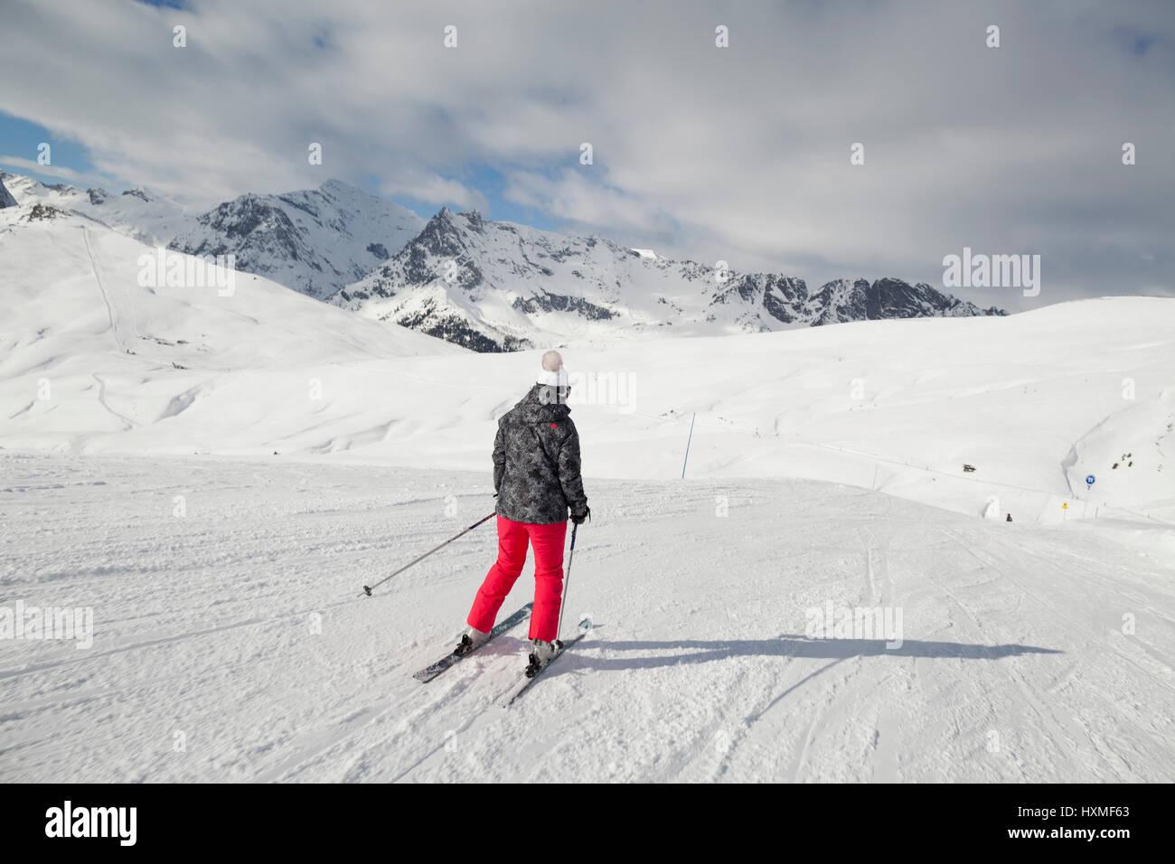 A skier at Domaine de Balme ski resort in Le Tour outside of Chamonix-Mont-Blanc. - Stock Image