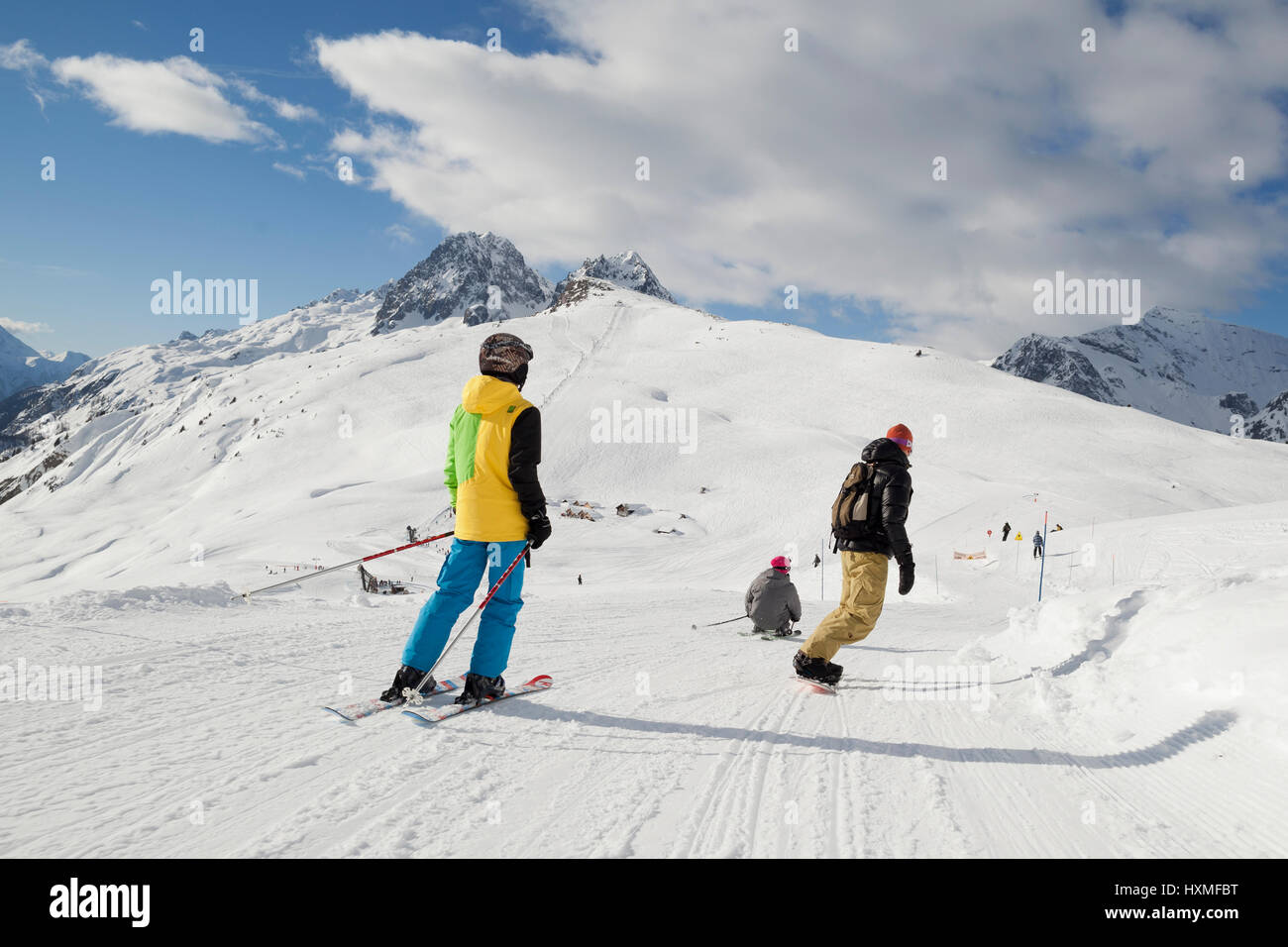 Skiers and snowboarders at Domaine de Balme ski resort in Le Tour outside of Chamonix-Mont-Blanc. - Stock Image