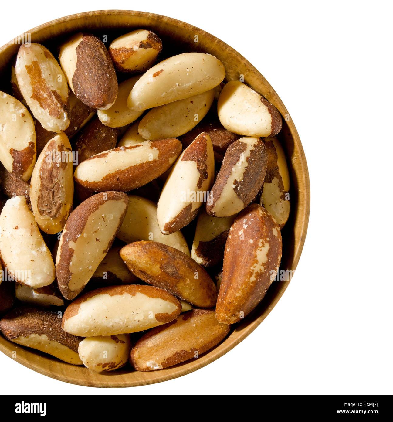 Brazil Nuts in bowl Stock Photo