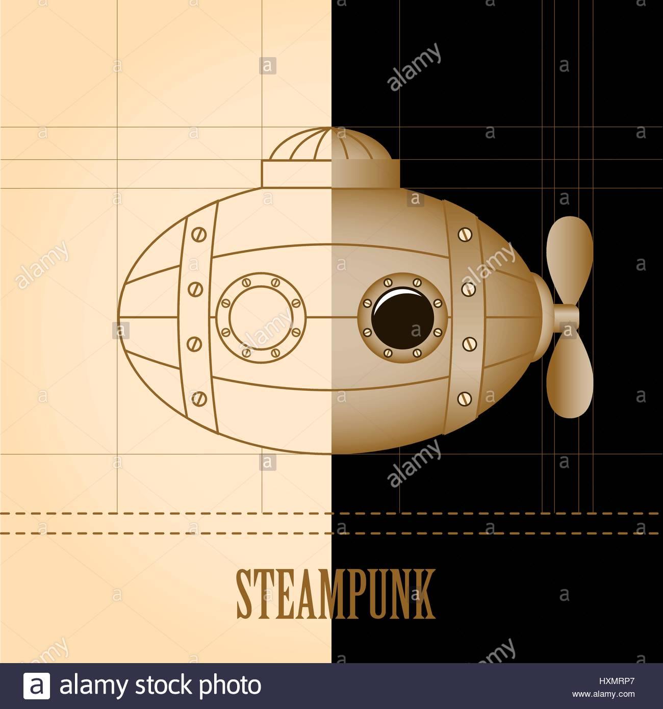 steampunk vector background submarine vintage template design for