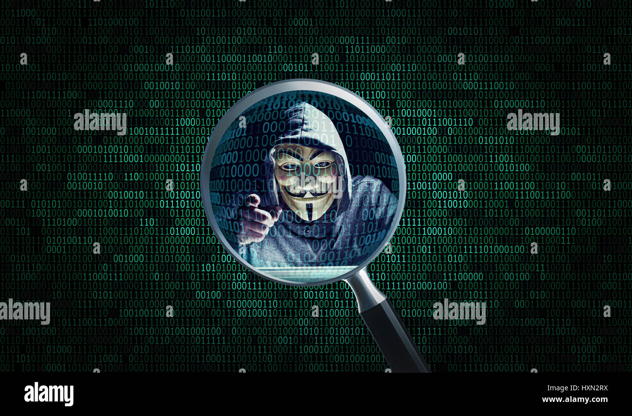 MILAN,ITALY, March, 2017: Magnifer on Hacker wear anonymus mask with binary code background .Editorial photo. - Stock Image