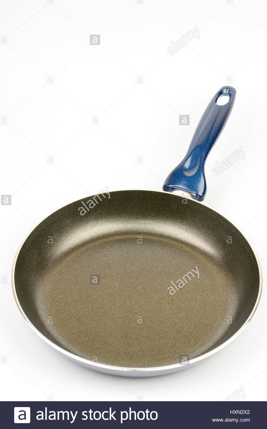 New teflon frying pan over white background Stock Photo