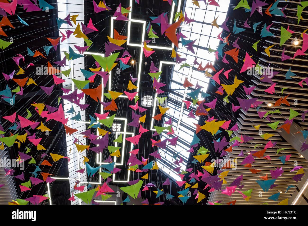 Los Angeles, MAR 26: The beautiful colorful paper art of Santa Anita Mall on MAR 26, 2017 at Los Angeles, California - Stock Image