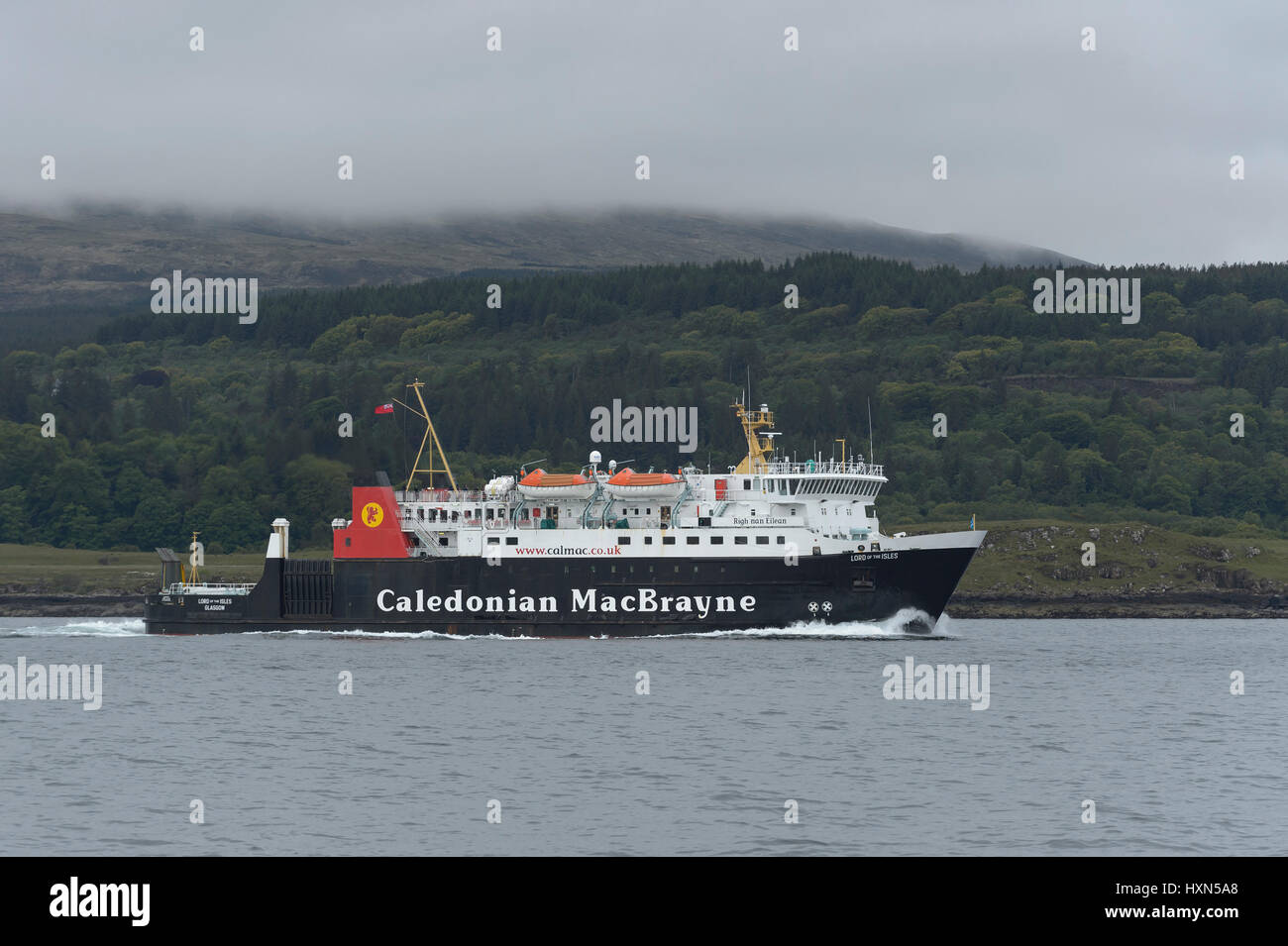 """Caledonian MacBrayne ferry """"Lord of the Isles"""" in the Sound of Mull, Scotland. June 2015. - Stock Image"""