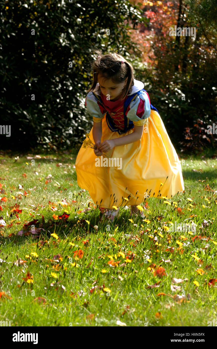 Little girl dressed up as snow white character picking flowers from little girl dressed up as snow white character picking flowers from yard in a beautiful autumn day mightylinksfo