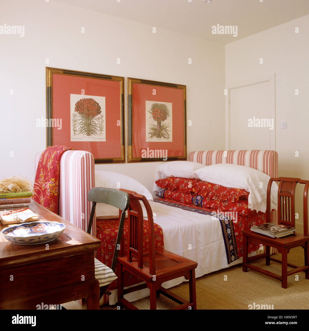 White Lacquered Furniture. Bedroom With Red Accents.   Stock Image White  Lacquered Furniture