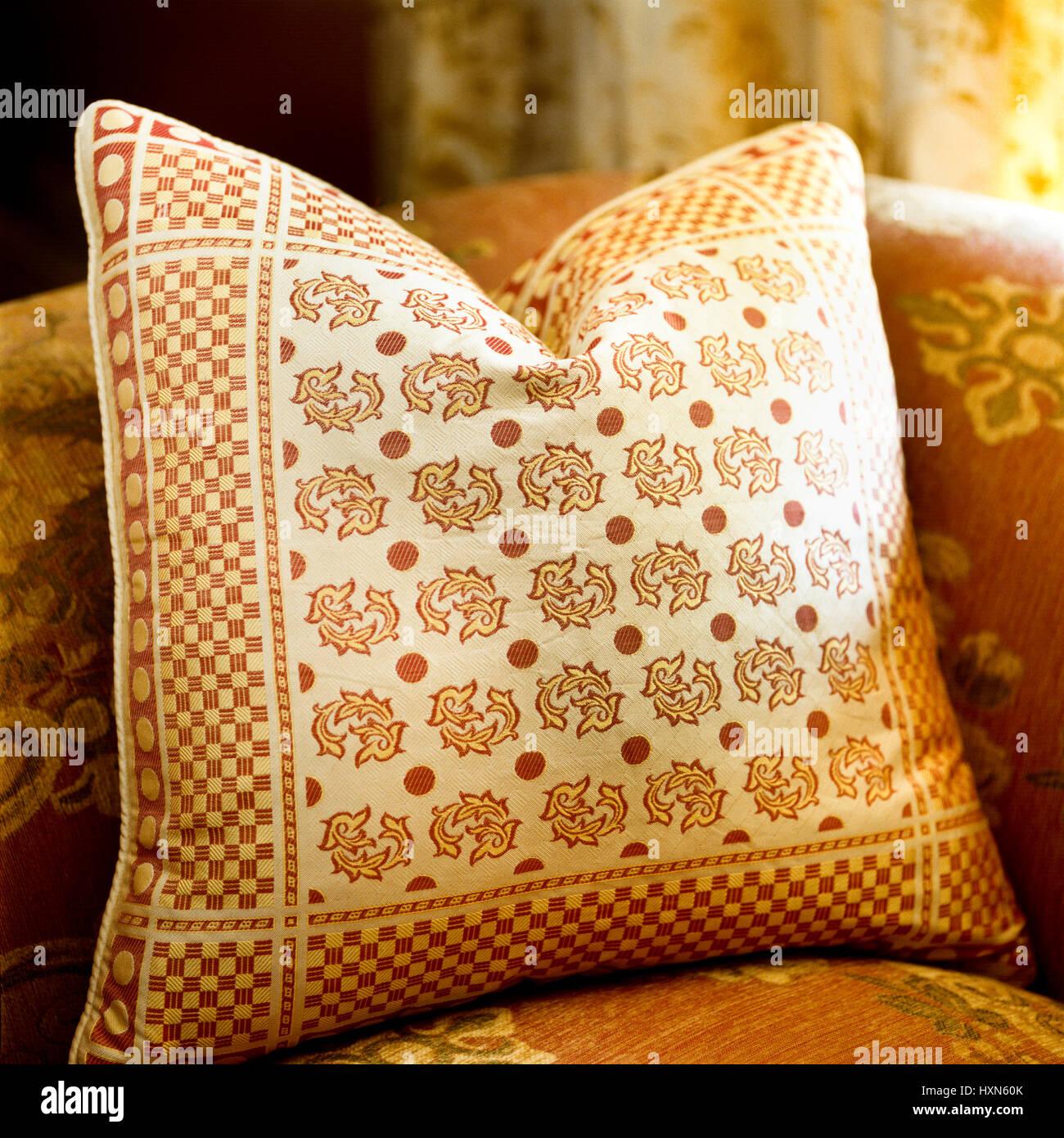 Patterned cushion. - Stock Image