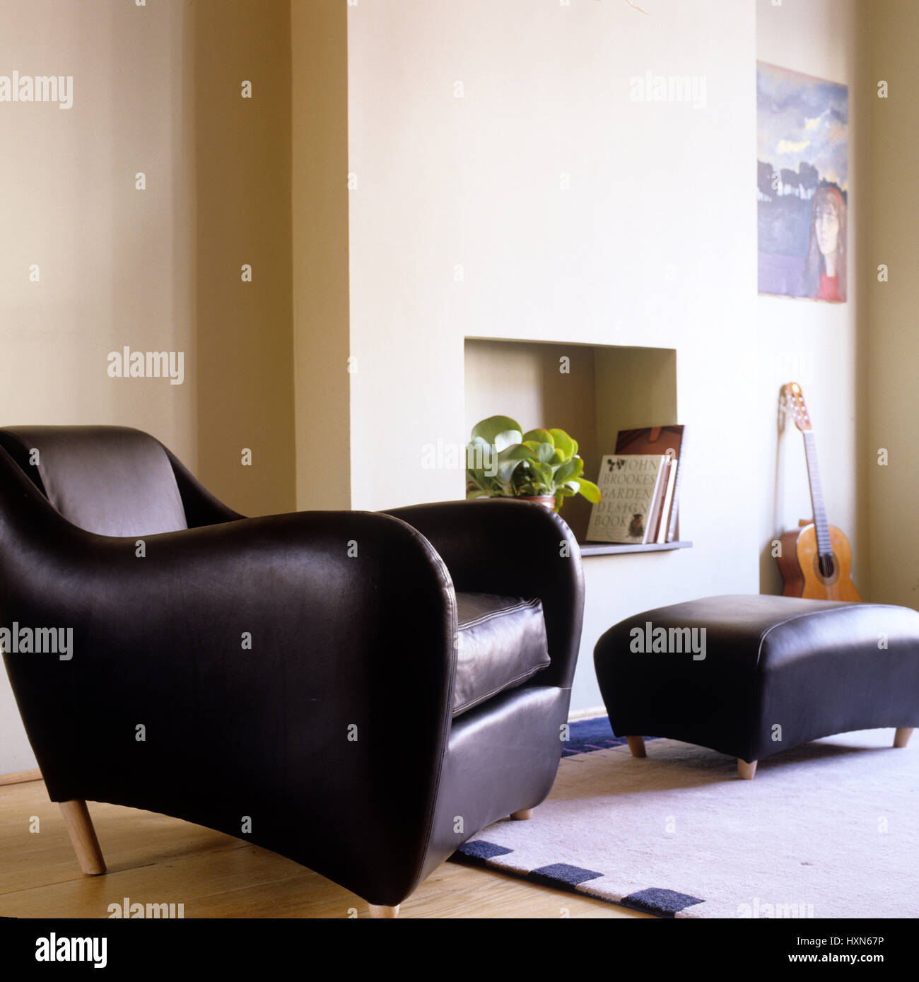 Modern leather armchair living room. - Stock Image