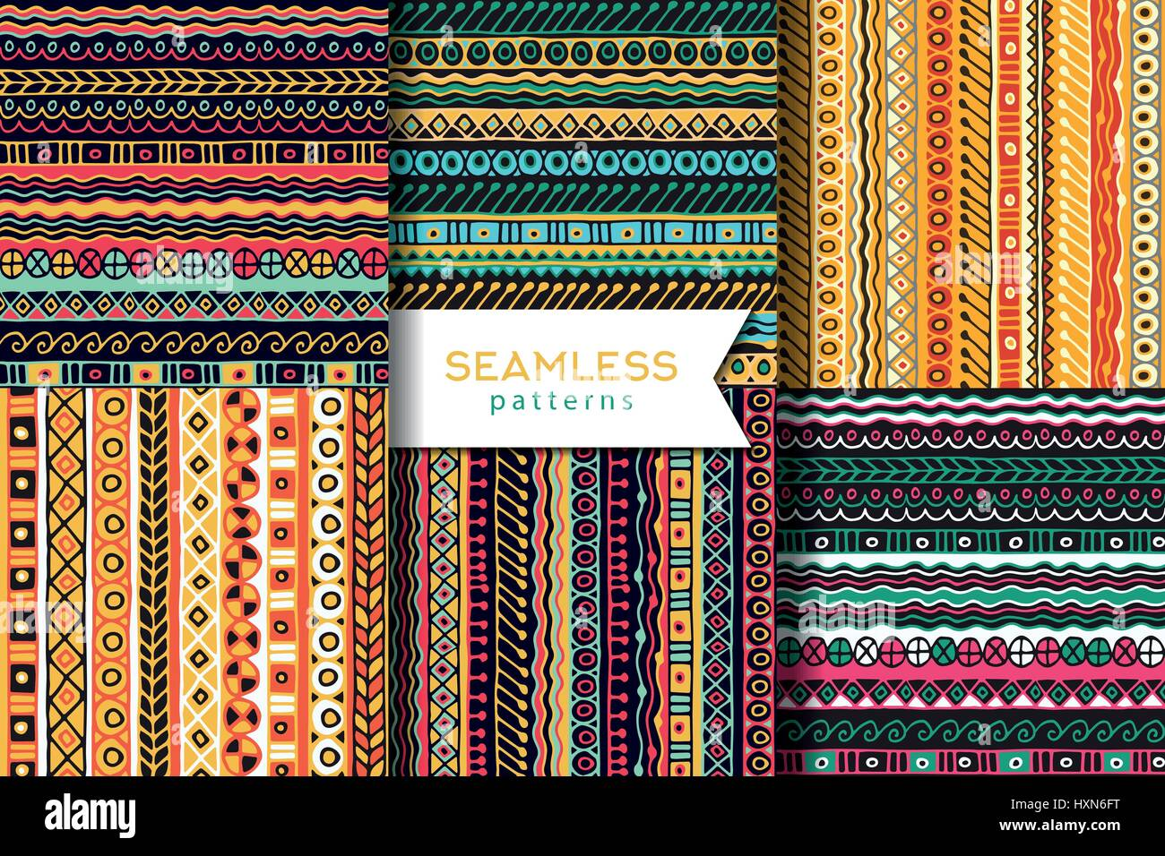 Vector set of seamless pattern. Boho style. Ethnic wallpaper. Tribal art print. - Stock Image